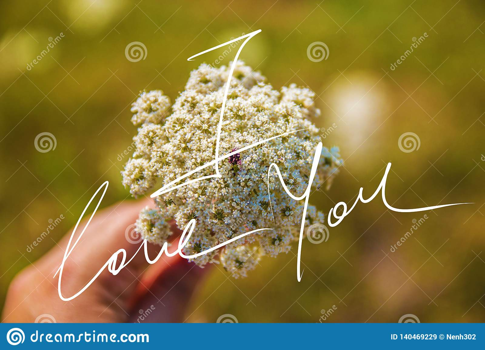 I Love You Handwriting Motto On A Photo Stock Image