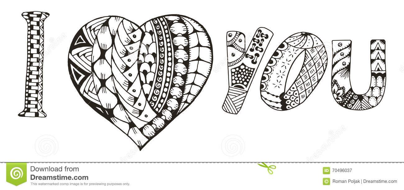 I Love You With Heart Zentangle Stylized On White