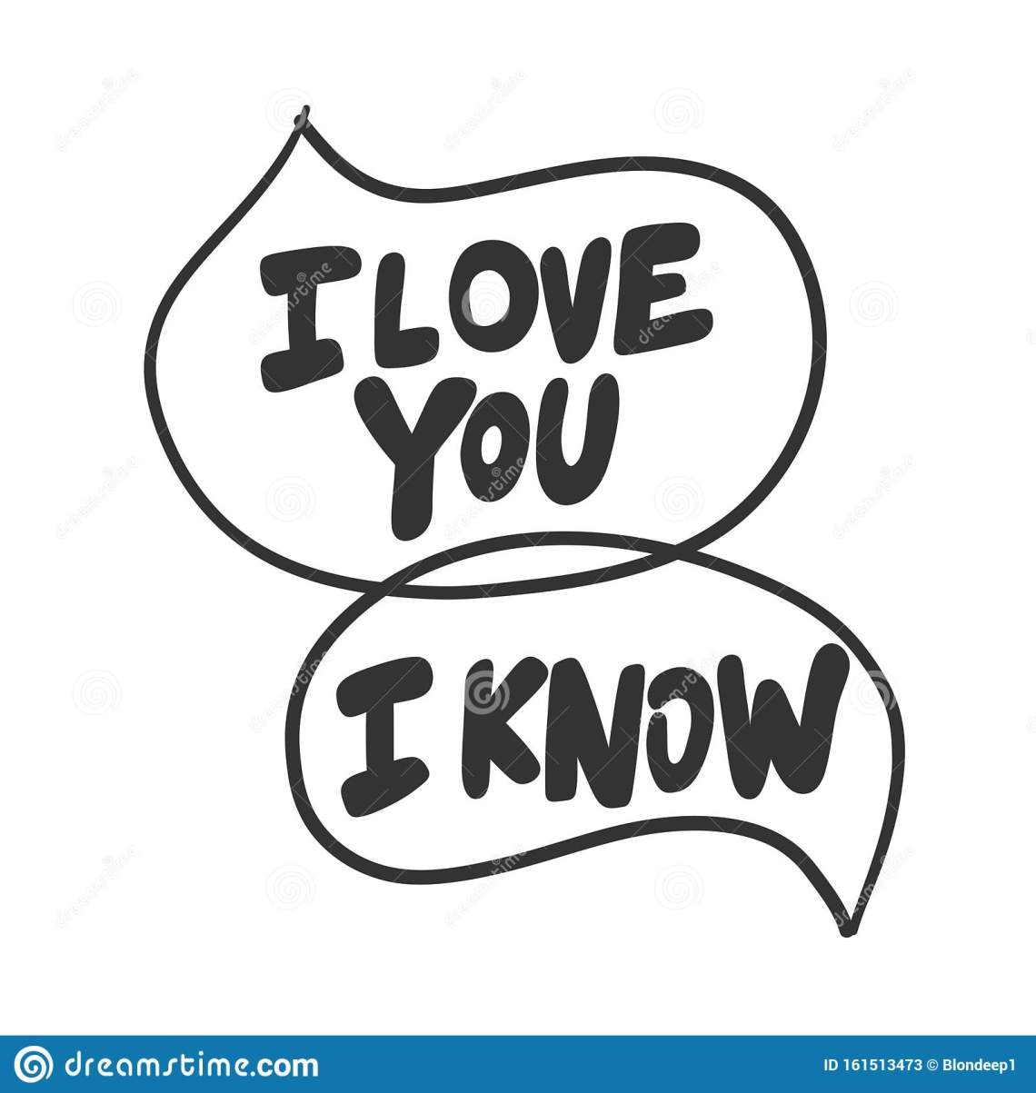 Download I Love You. I Know. Vector Hand Drawn Illustration Sticker ...