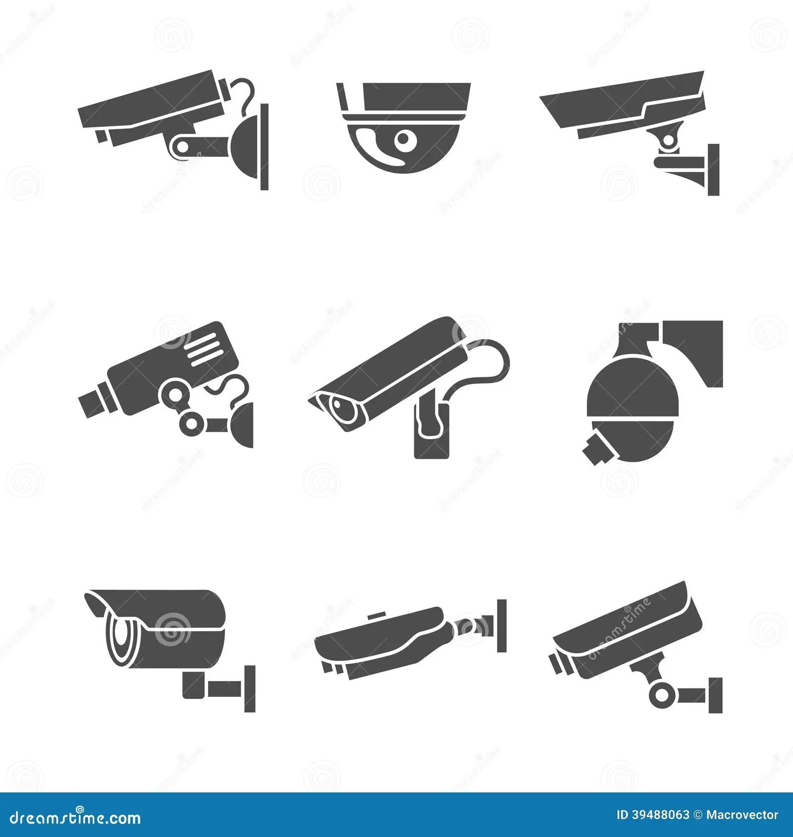 Icones De Cameras De Securite Reglees Illustration De