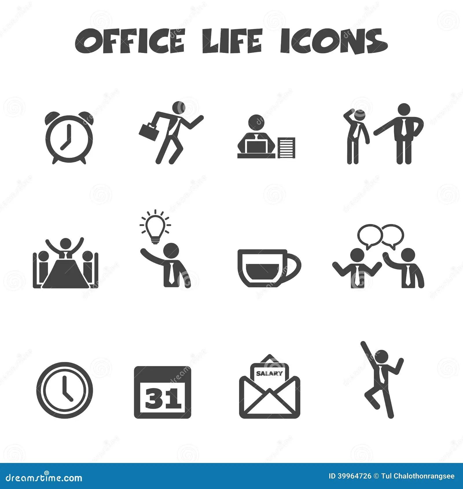 Icones De La Vie De Bureau Illustration De Vecteur