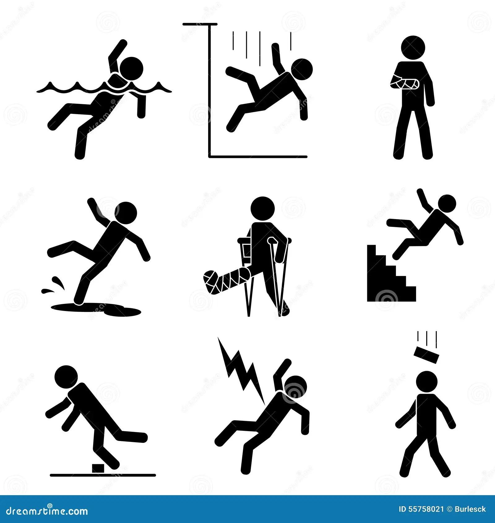Icones De Securite Et D Accidents Illustration De Vecteur