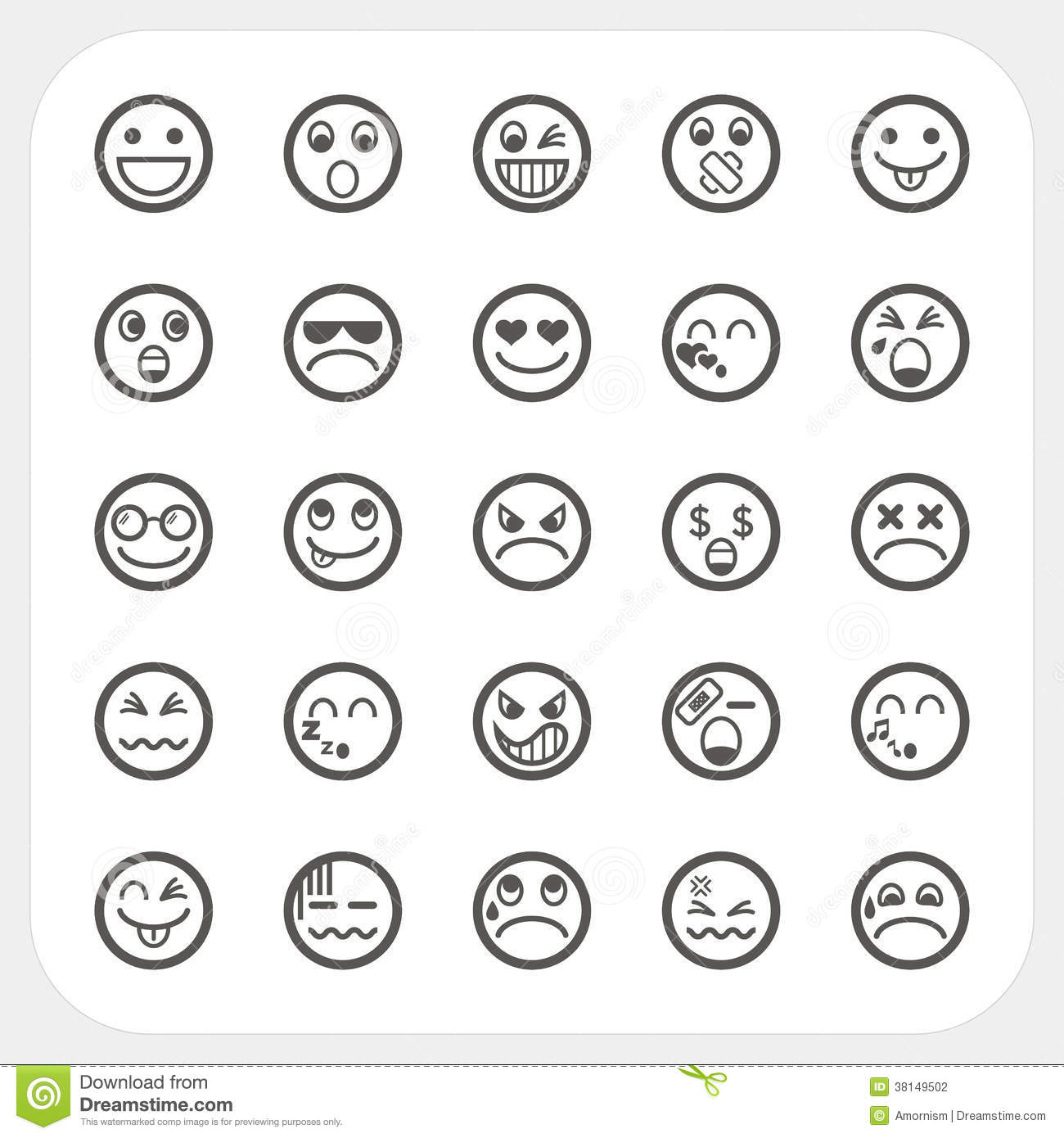 Icones De Visage D Emotion Reglees Illustration De Vecteur
