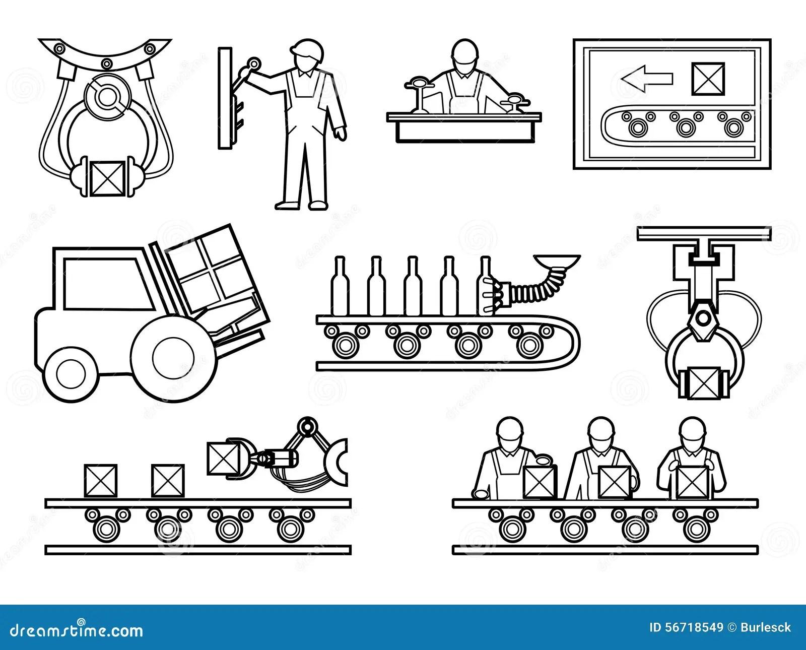 Icones Industriel Et De Processus De Fabrication Reglees
