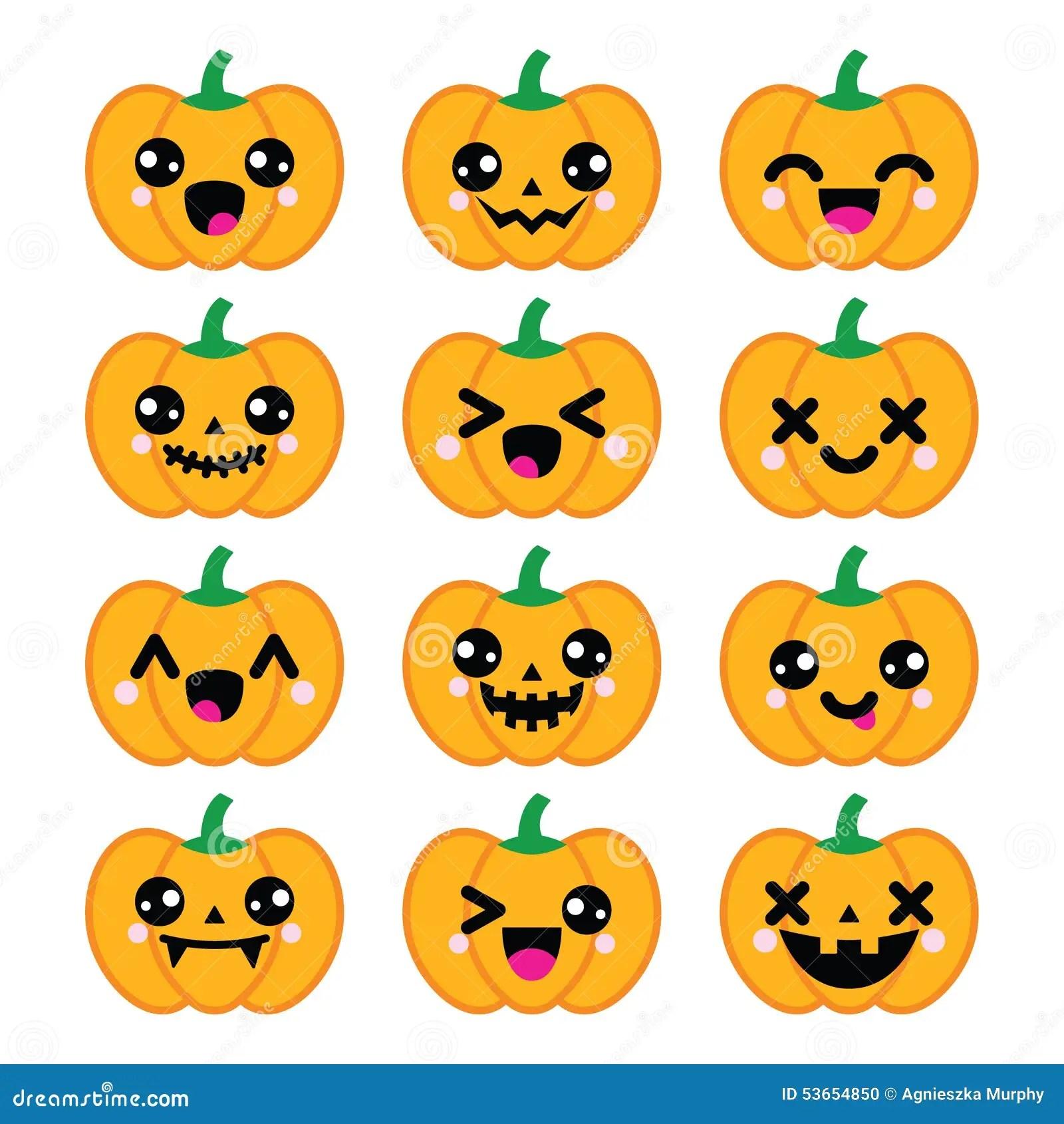 Icones Mignonnes De Potiron De Halloween Kawaii