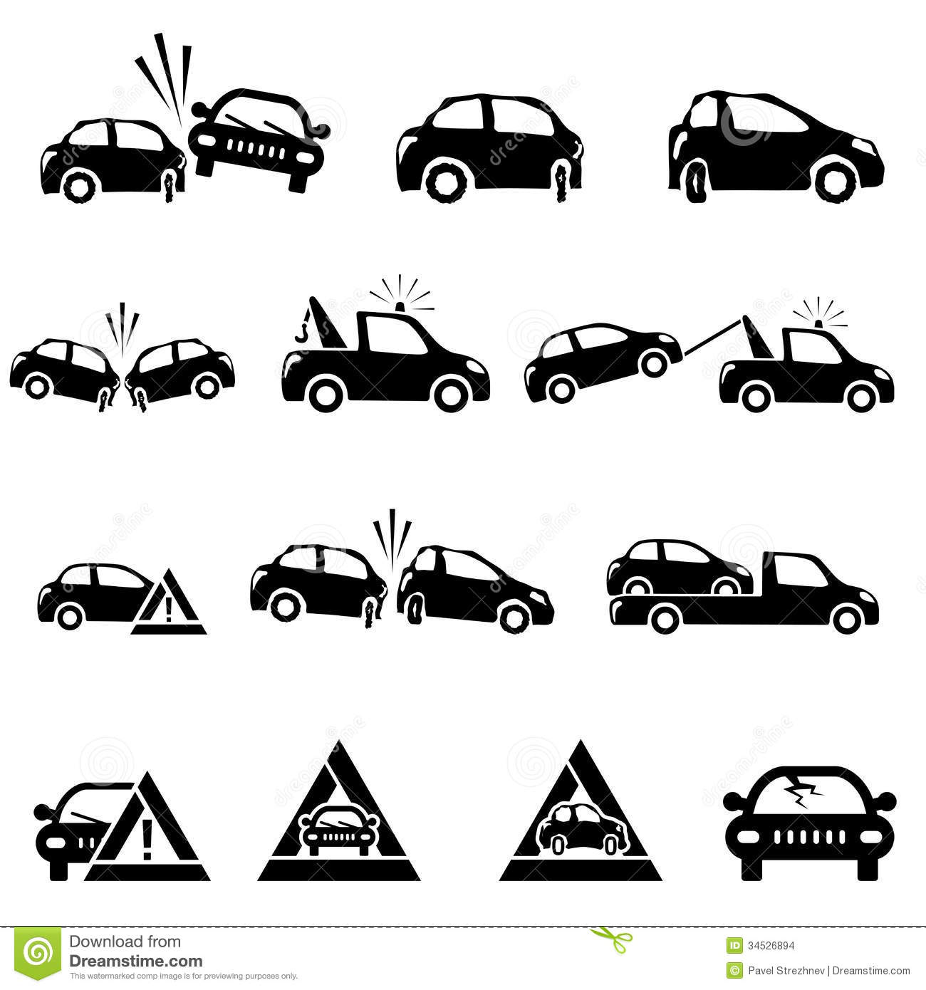 Icones Reglees De L Accident De Voiture Images Stock