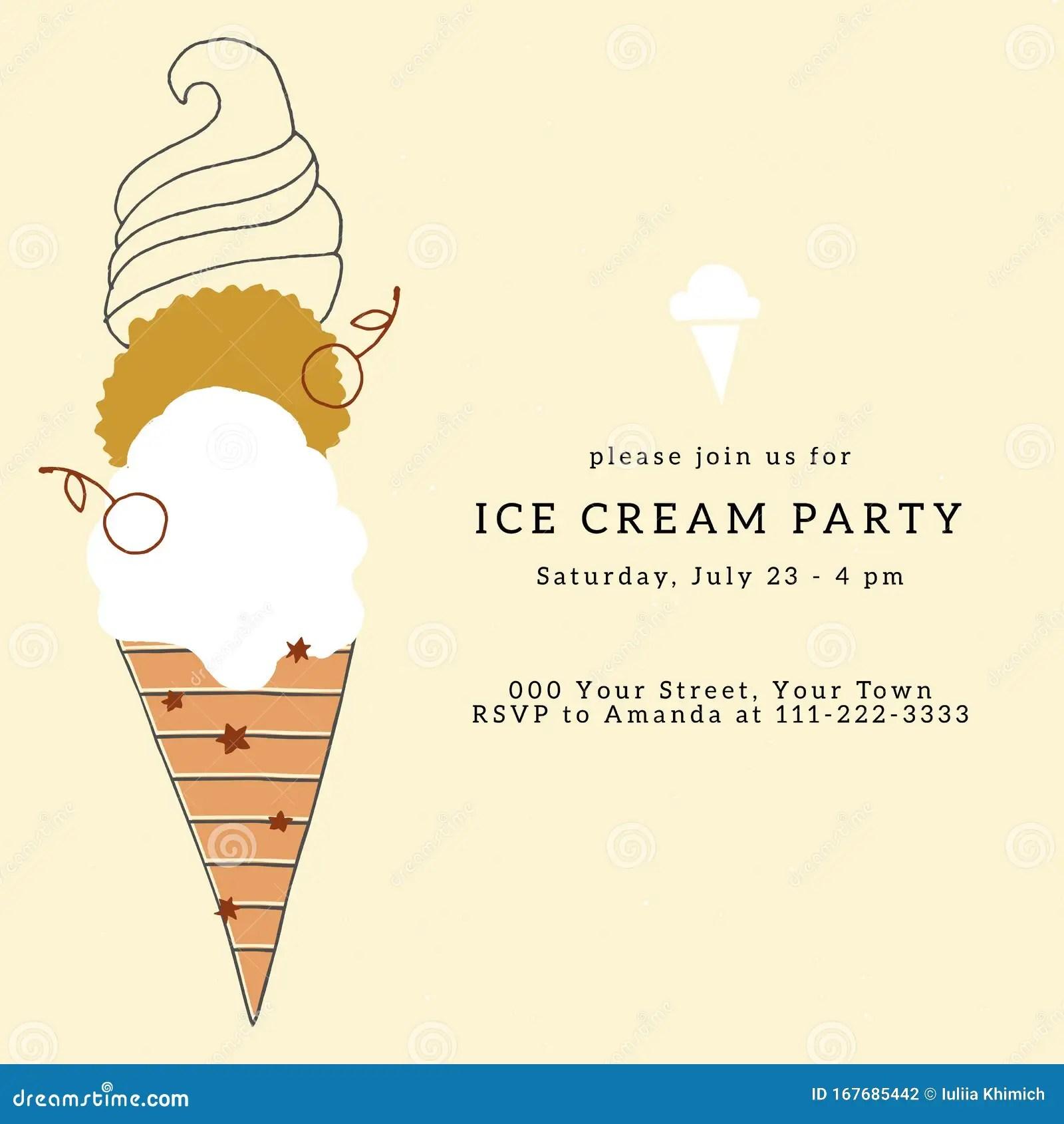 https www dreamstime com ice cream party invitation template vector illustration big hand drawn dessert ice cream party invitation template image167685442
