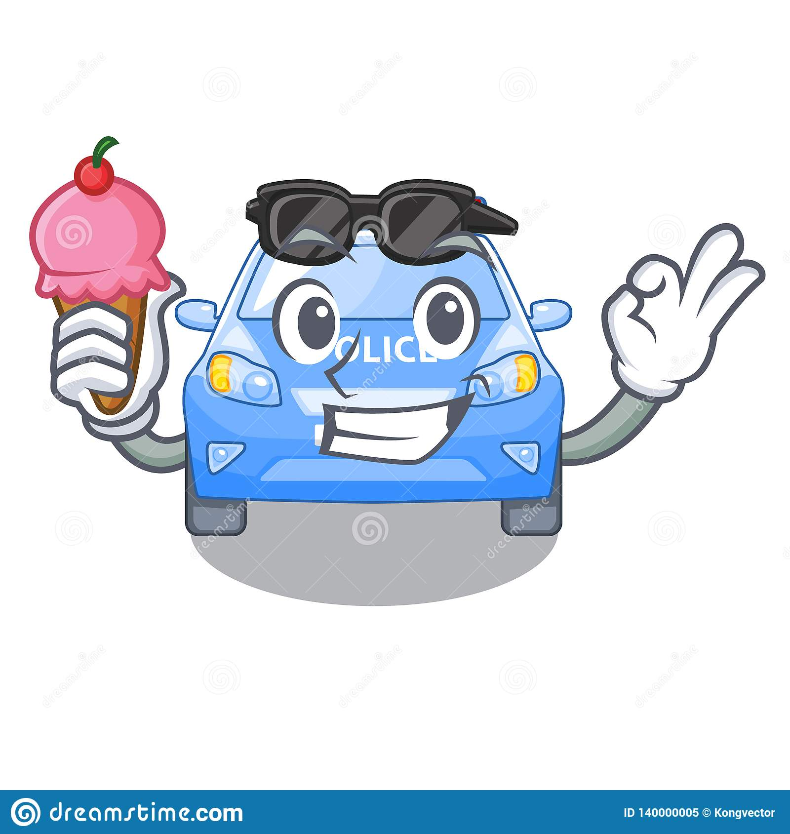 With Ice Cream Police Car In The Shape Character Stock