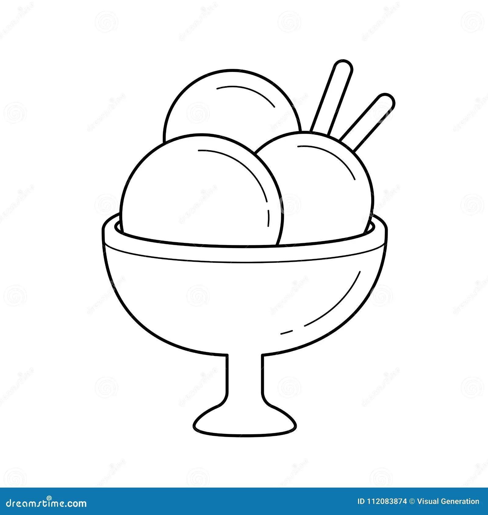 Ice Cream Vector Line Icon Stock Vector