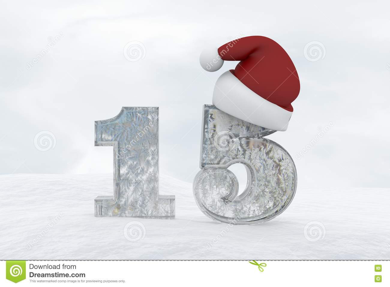 Ice Number 15 With Christmas Hat 3d Rendering Illustration