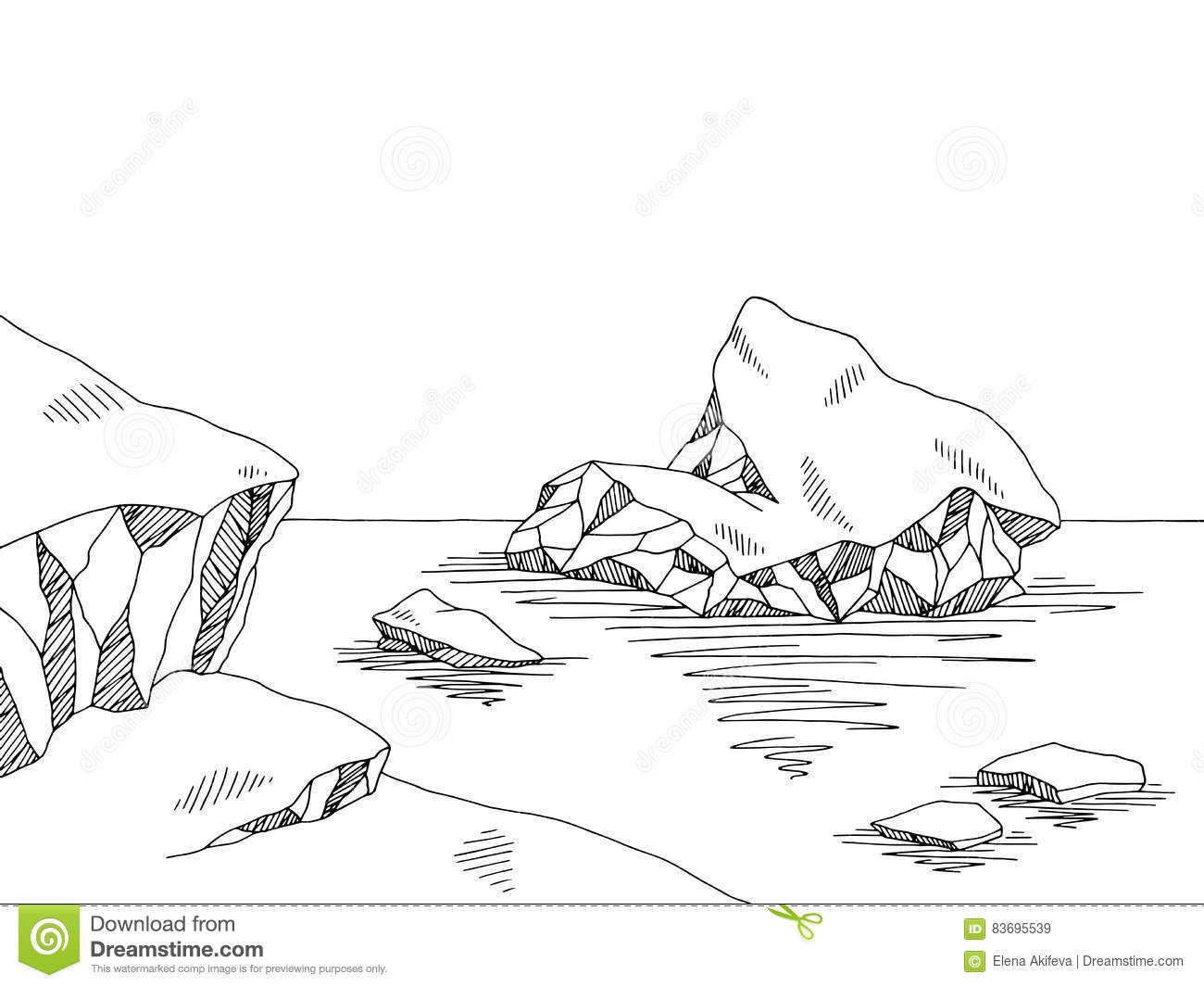 Iceberg Graphic Black White Sketch Illustration Cartoon