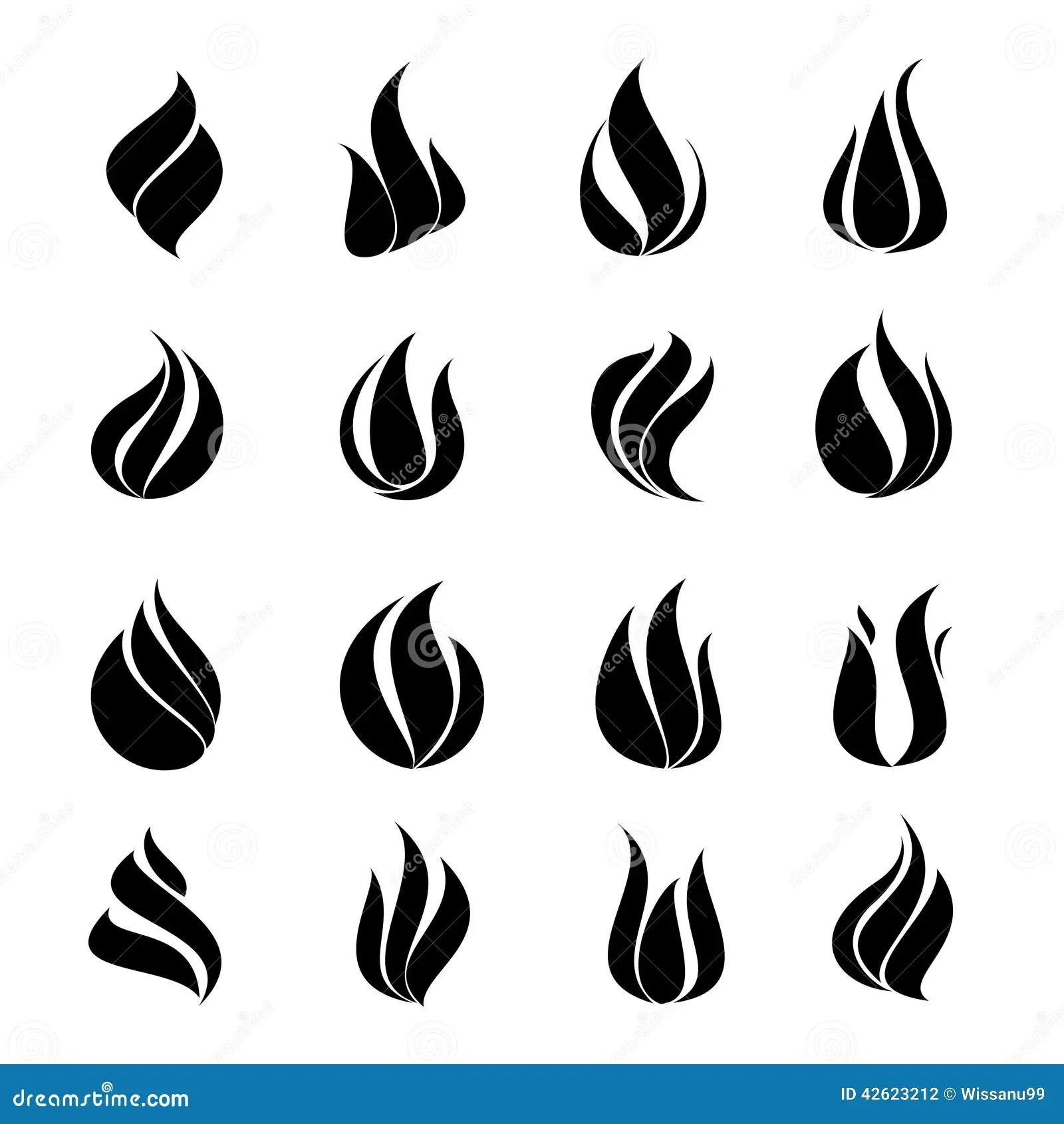 Icon Black Set Fire On White Background Stock Photo