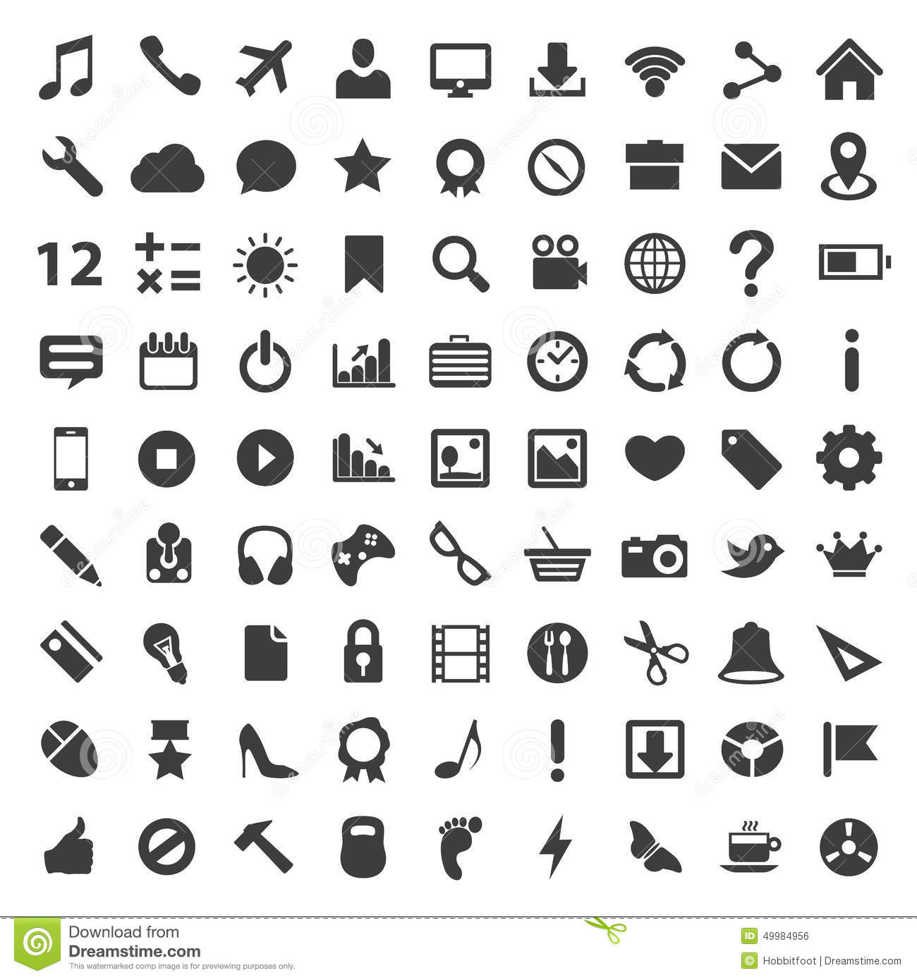 Icon Set Art Technology File Stock Vector