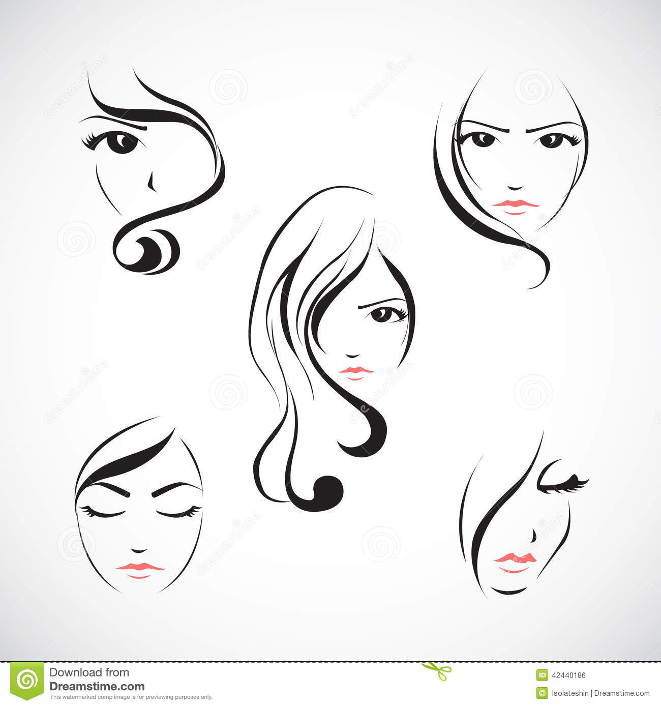Icon Set Of Beautiful Womans Face Stock Vector