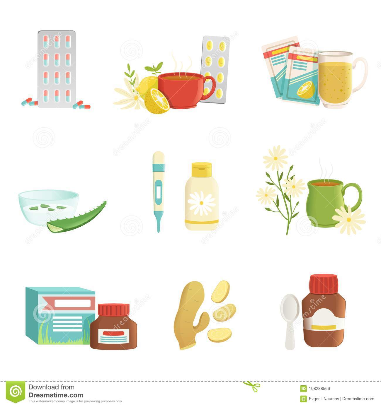Icon Set Of Cold And Flu Treatment Objects Tablets Tea