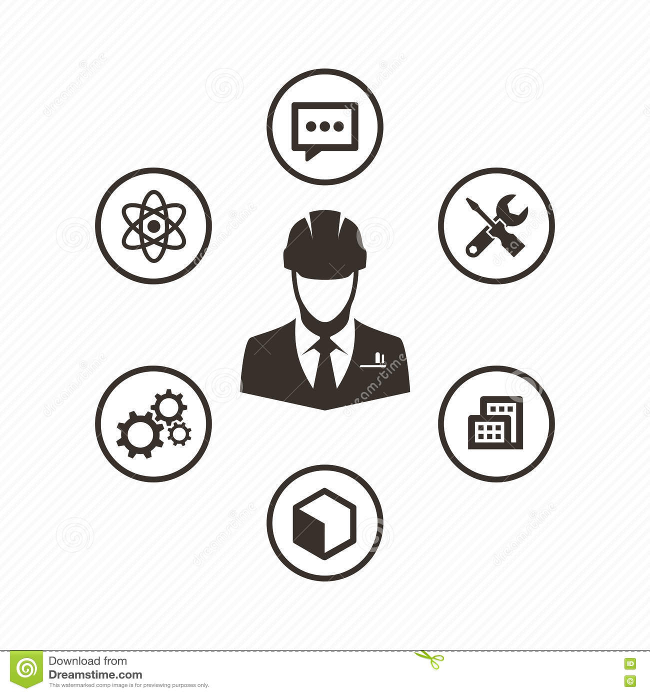 Icon Set Engineer Stock Vector Illustration Of Monitoring
