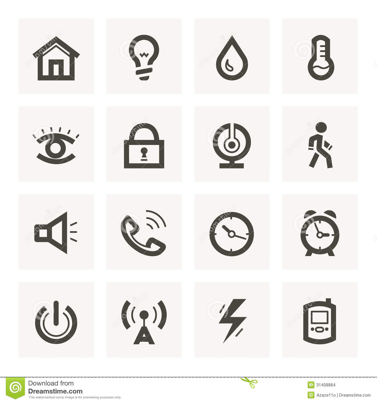 Icon Set For Security System And House Automation Stock