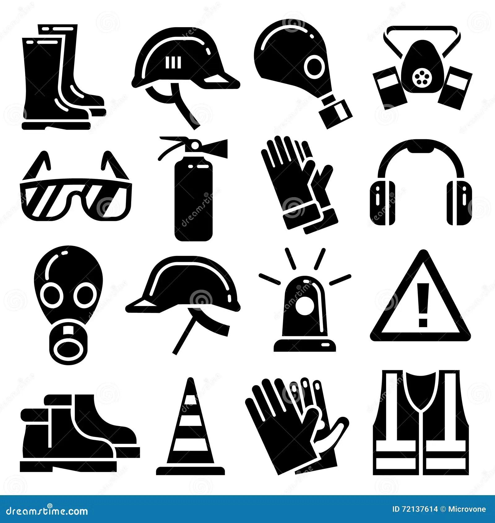 Icone Di Vettore Dei Dispositivi Di Protezione Individuale