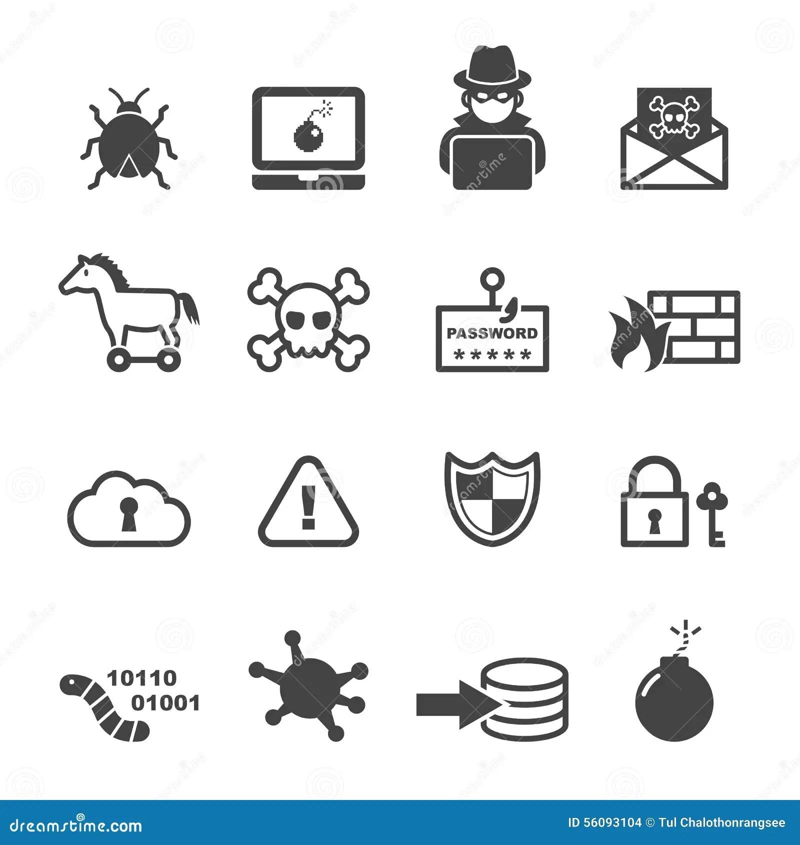 Iconos Ciberneticos Del Crimen Ilustracion Del Vector
