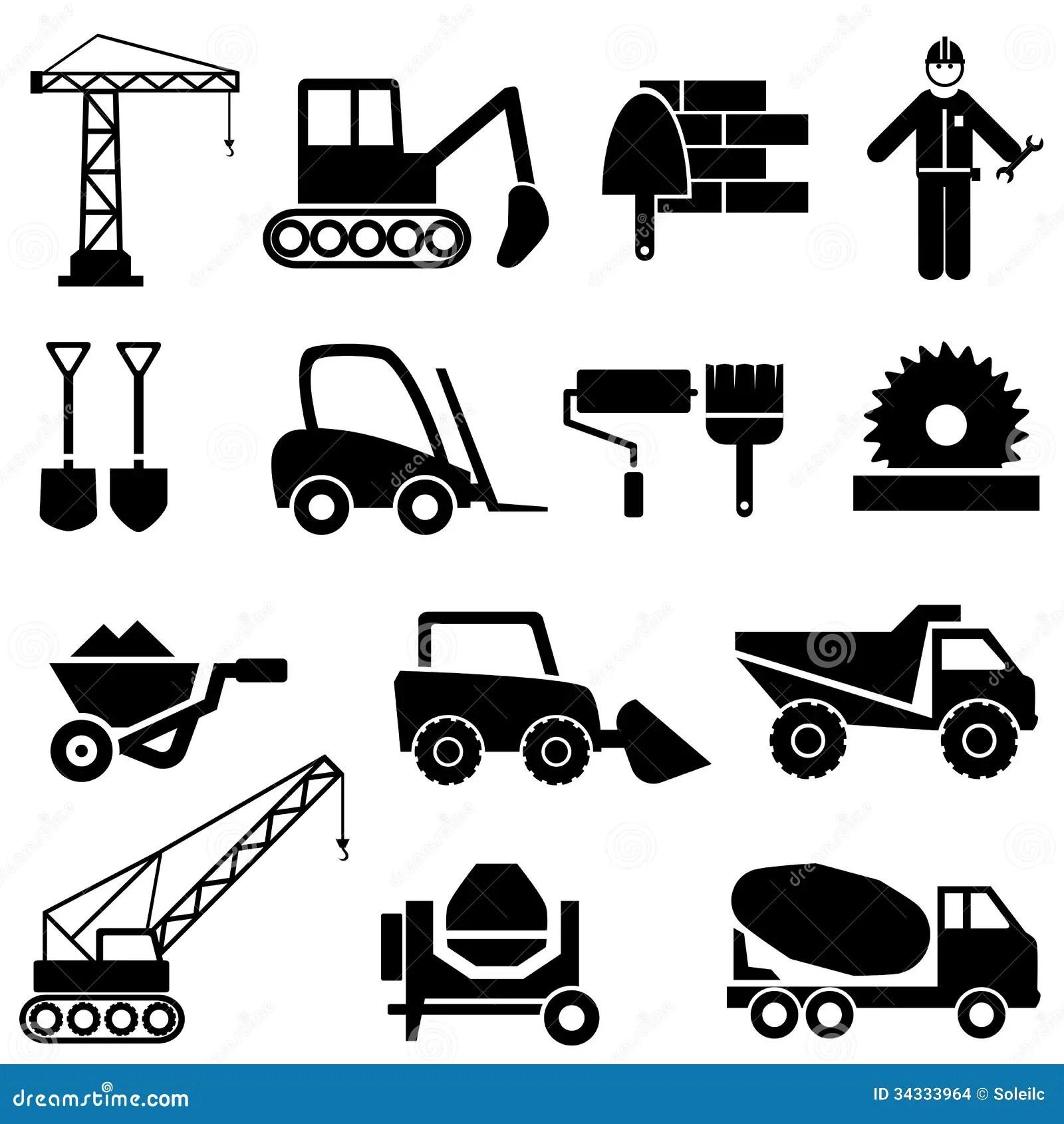 Iconos De La Construccion Y De La Maquinaria Industrial
