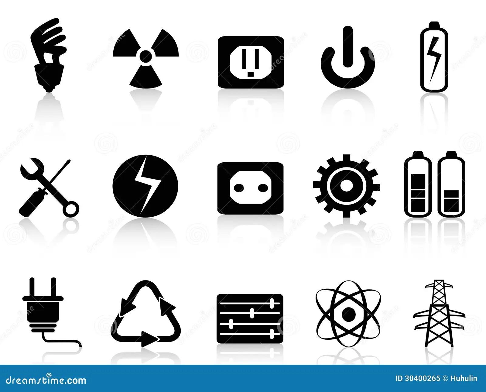 Iconos De La Electricidad Y Del Poder Fijados Foto De