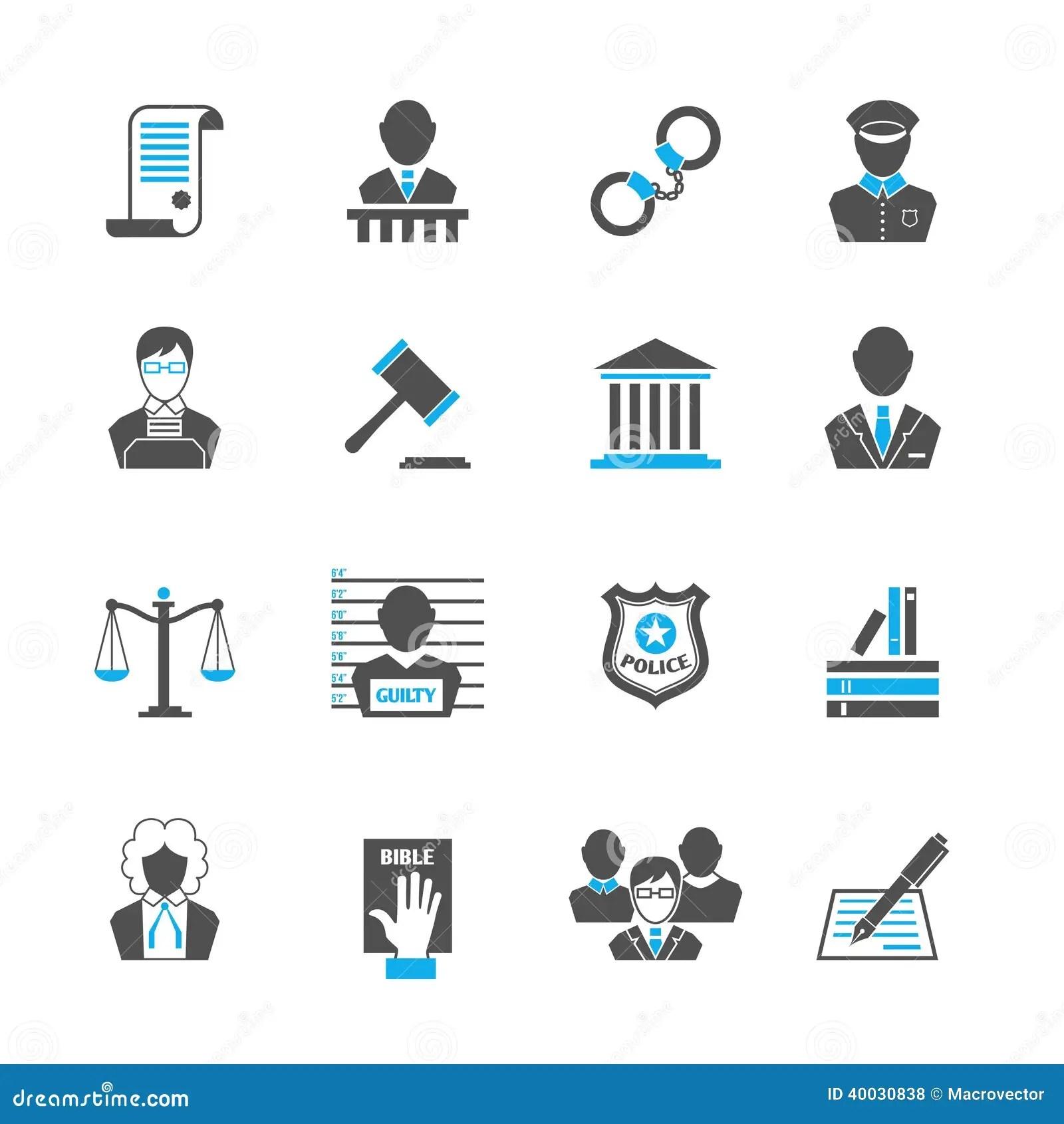 Iconos De La Ley Fijados Ilustracion Del Vector