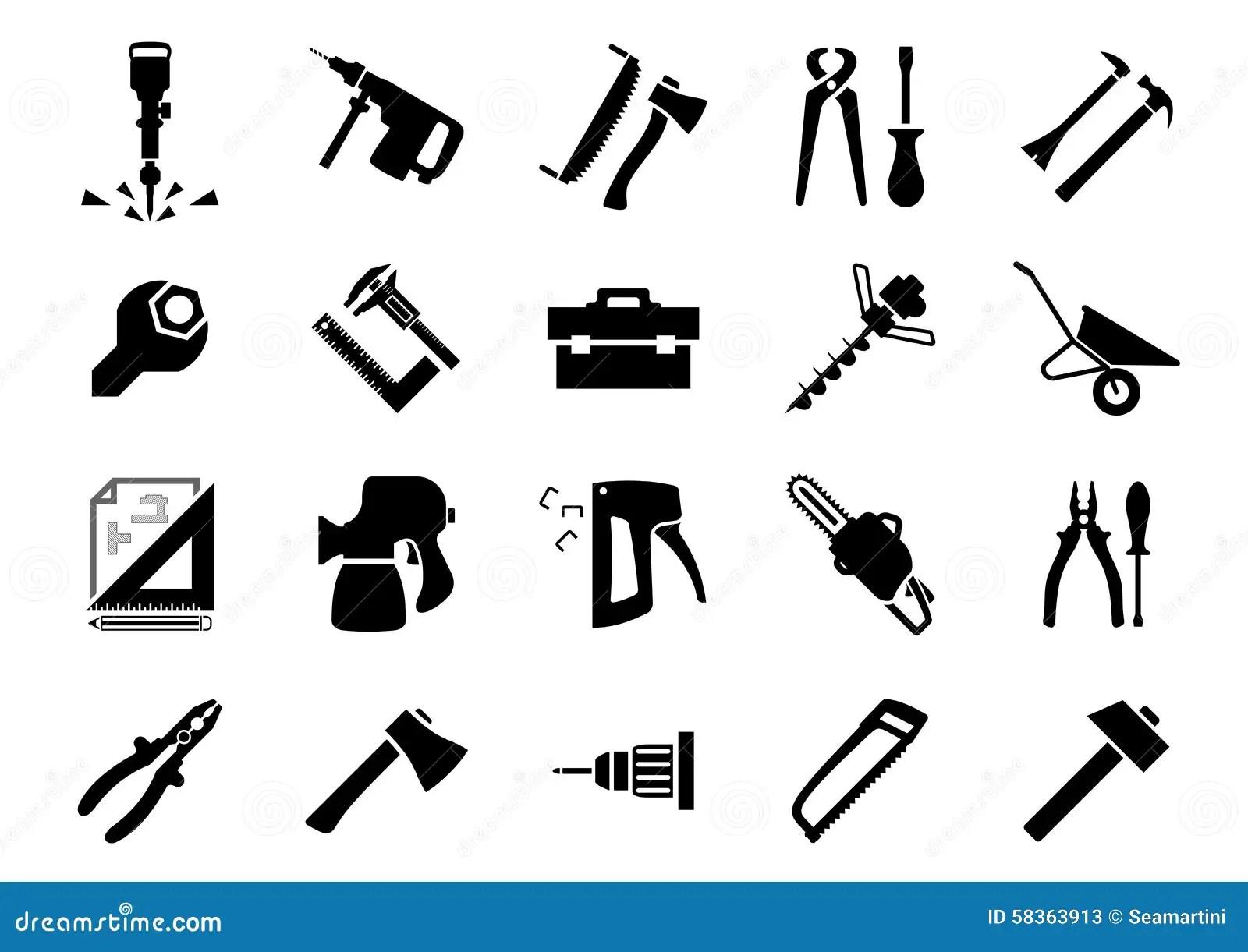 Iconos De La Mano Y De Las Herramientas Electricas