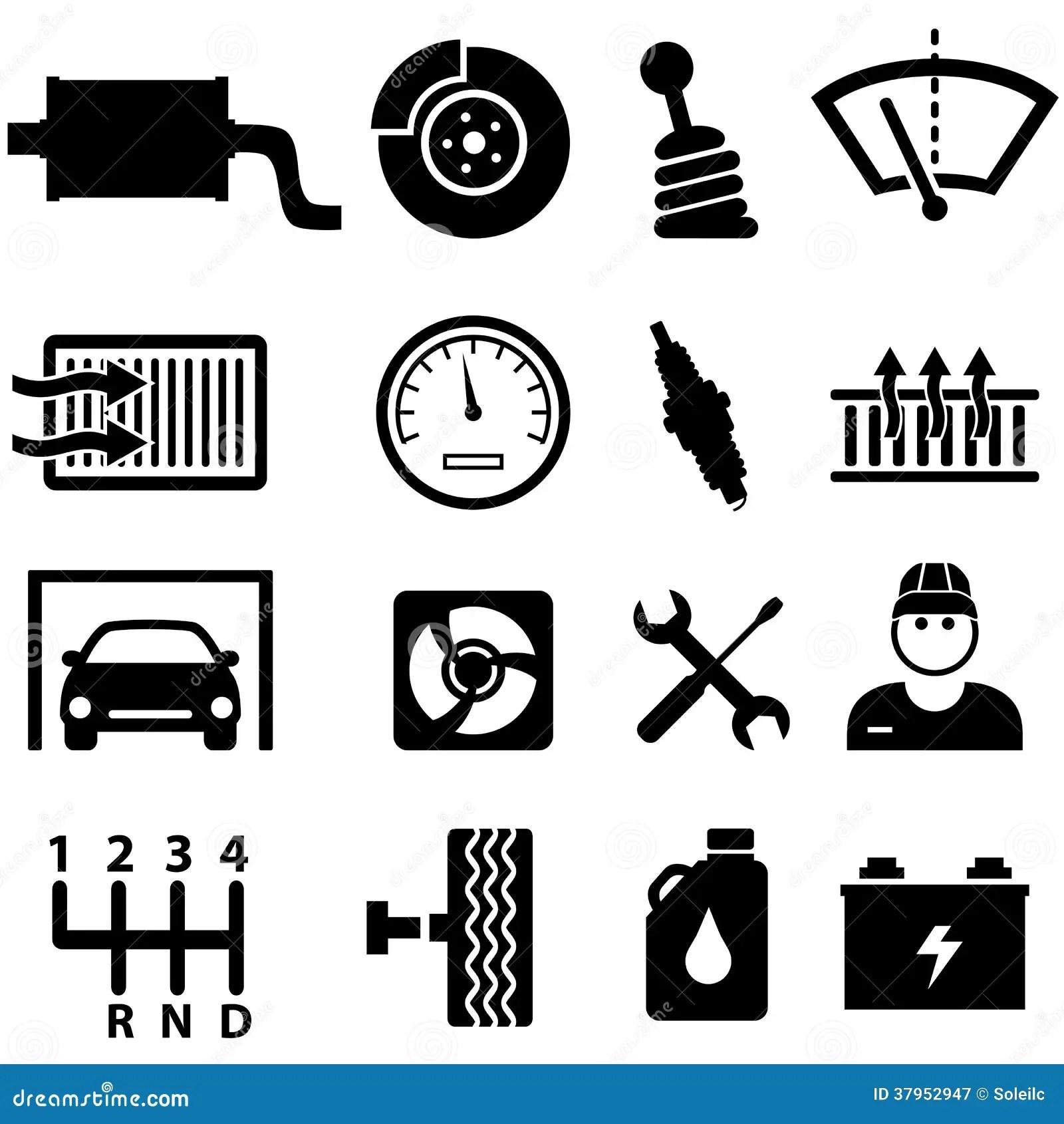 Iconos De La Reparacion Y Del Mecanico Del Coche