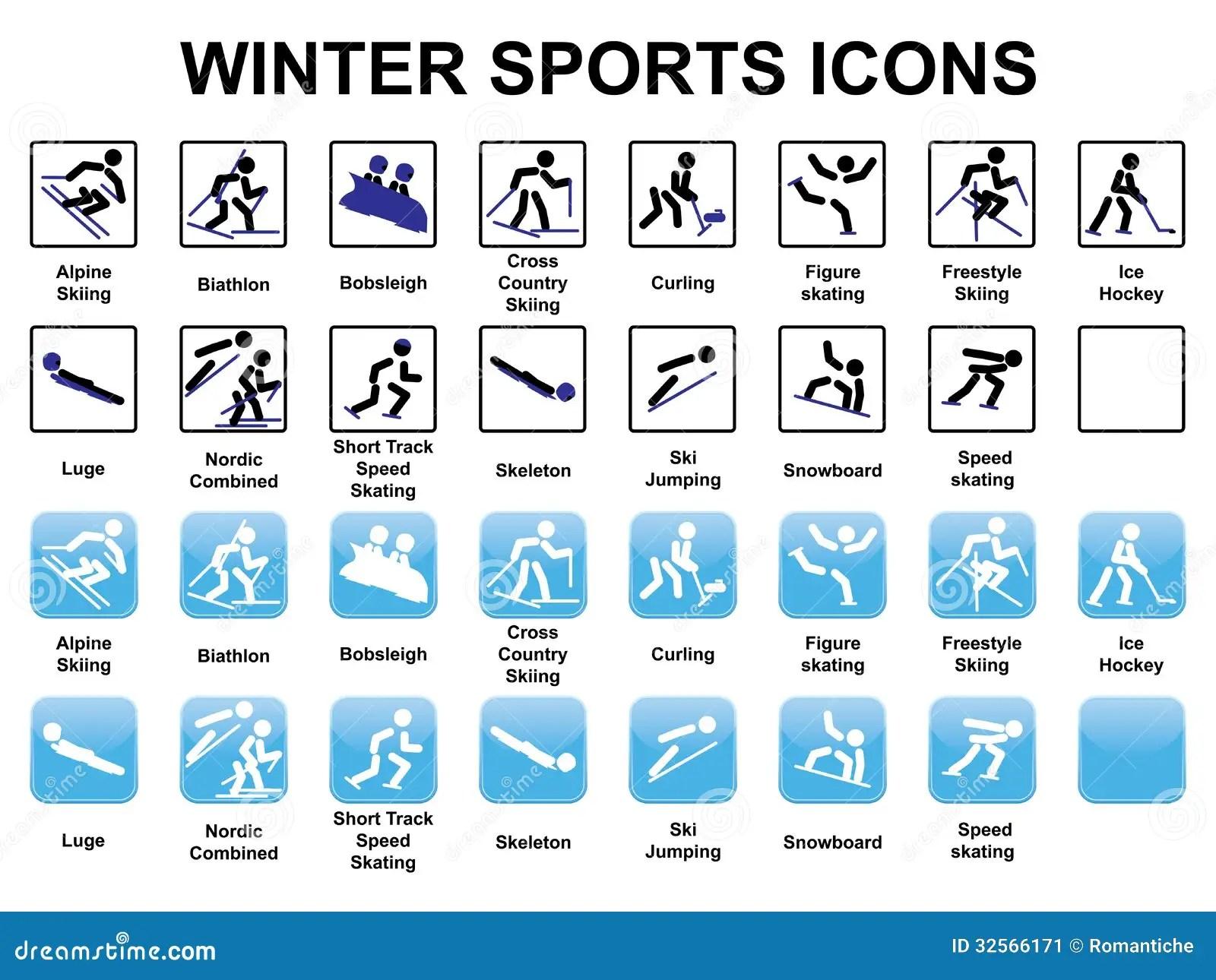 Iconos De Los Deportes De Invierno Imagen De Archivo