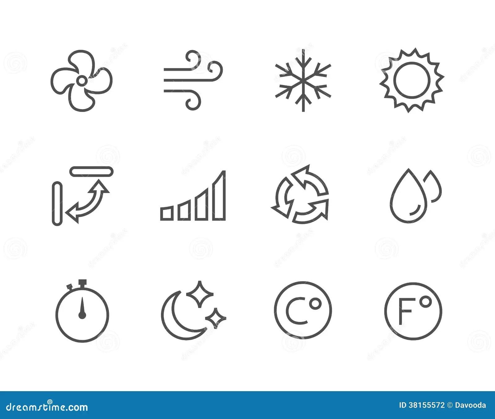 Iconos Del Aire Acondicionado Del Thinline Fotografia De