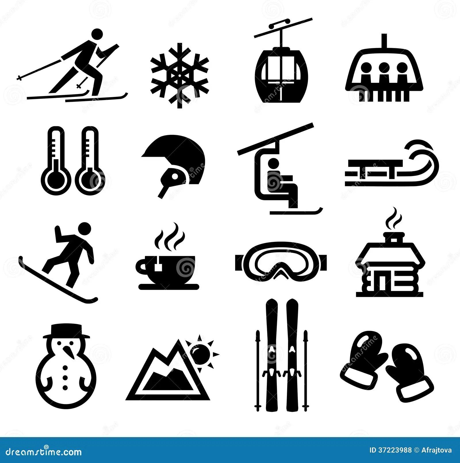 Iconos Del Invierno Ilustracion Del Vector Ilustracion De