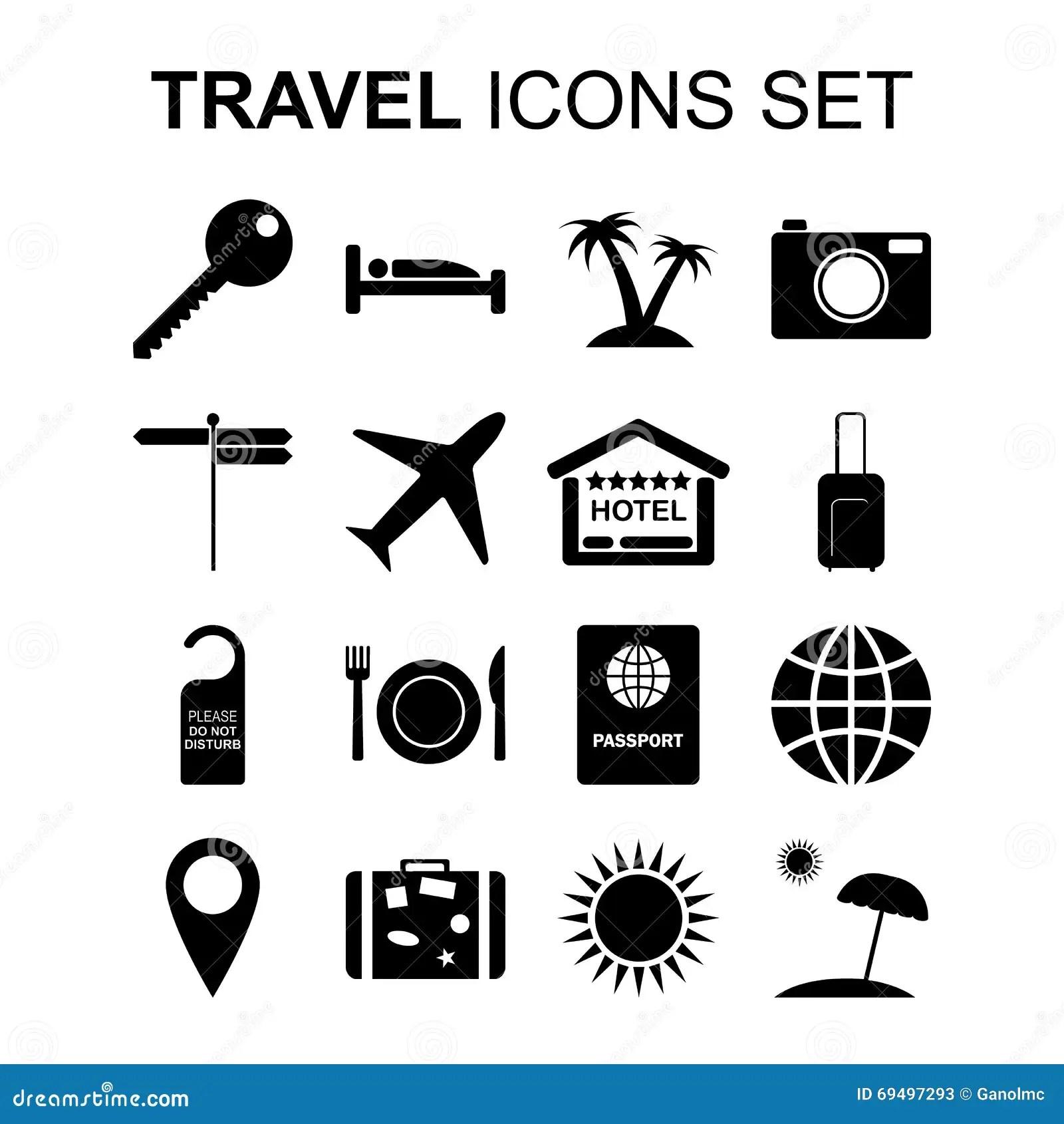 Iconos Del Viaje Fijados Y Simbolos Del Turismo