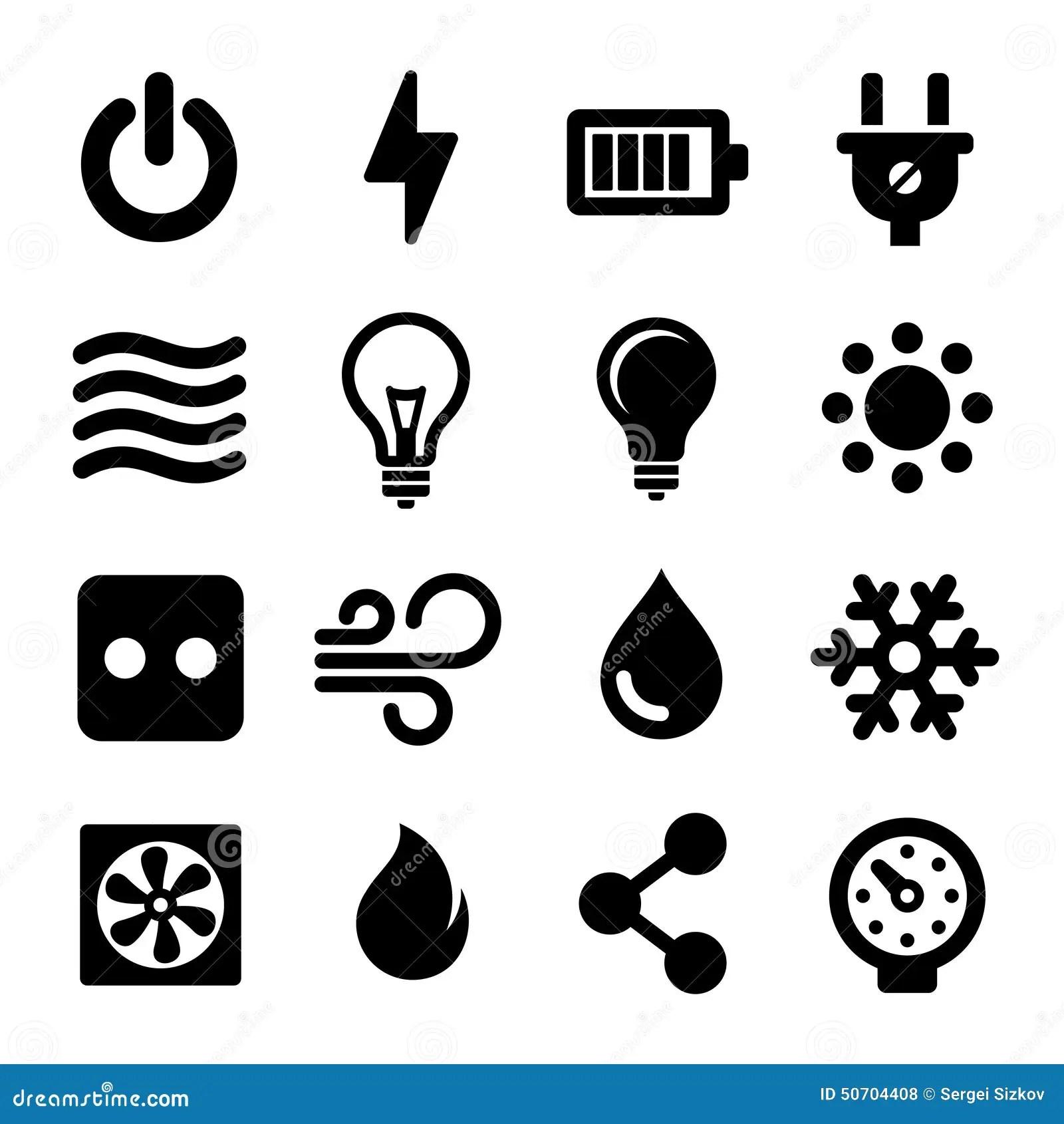 Iconos Electricos Fijados Ilustracion Del Vector