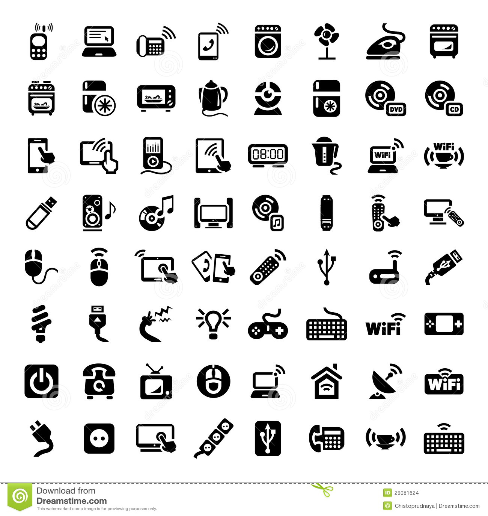 Iconos Grandes De Los Dispositivos Electronicos Fijados