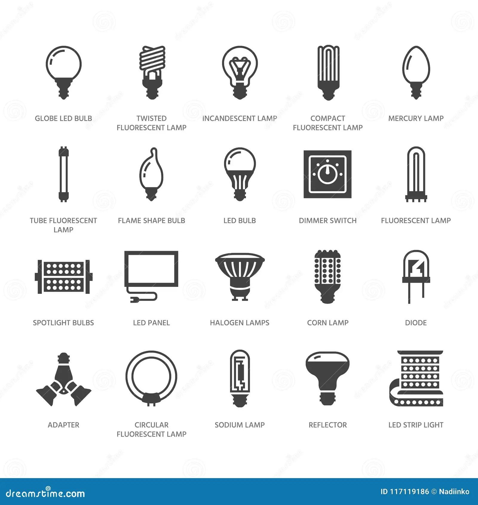 Iconos Planos Del Glyph De Lasillas Tipos De Las Lamparas Fluorescente Llevados El