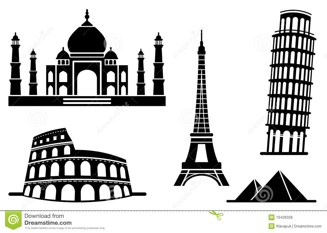Icons Of Architectural Monuments Stock Vector