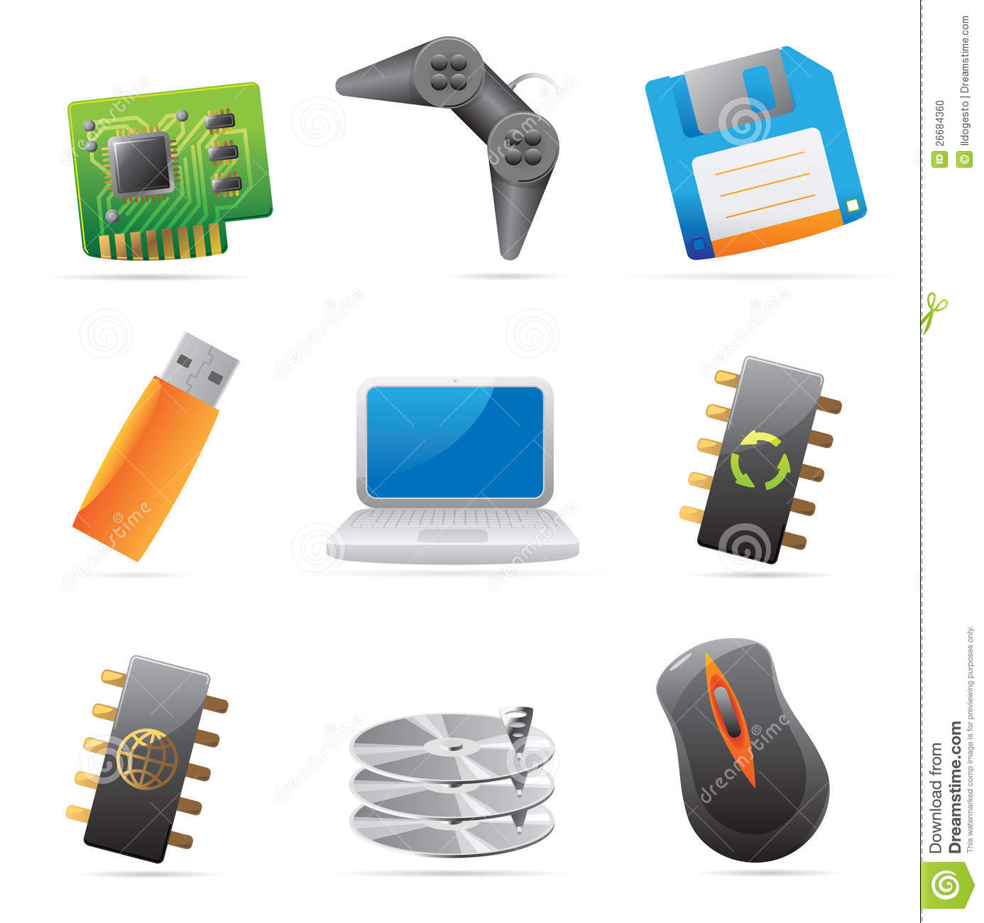 Icons For Computer And Computer Parts Stock Photo