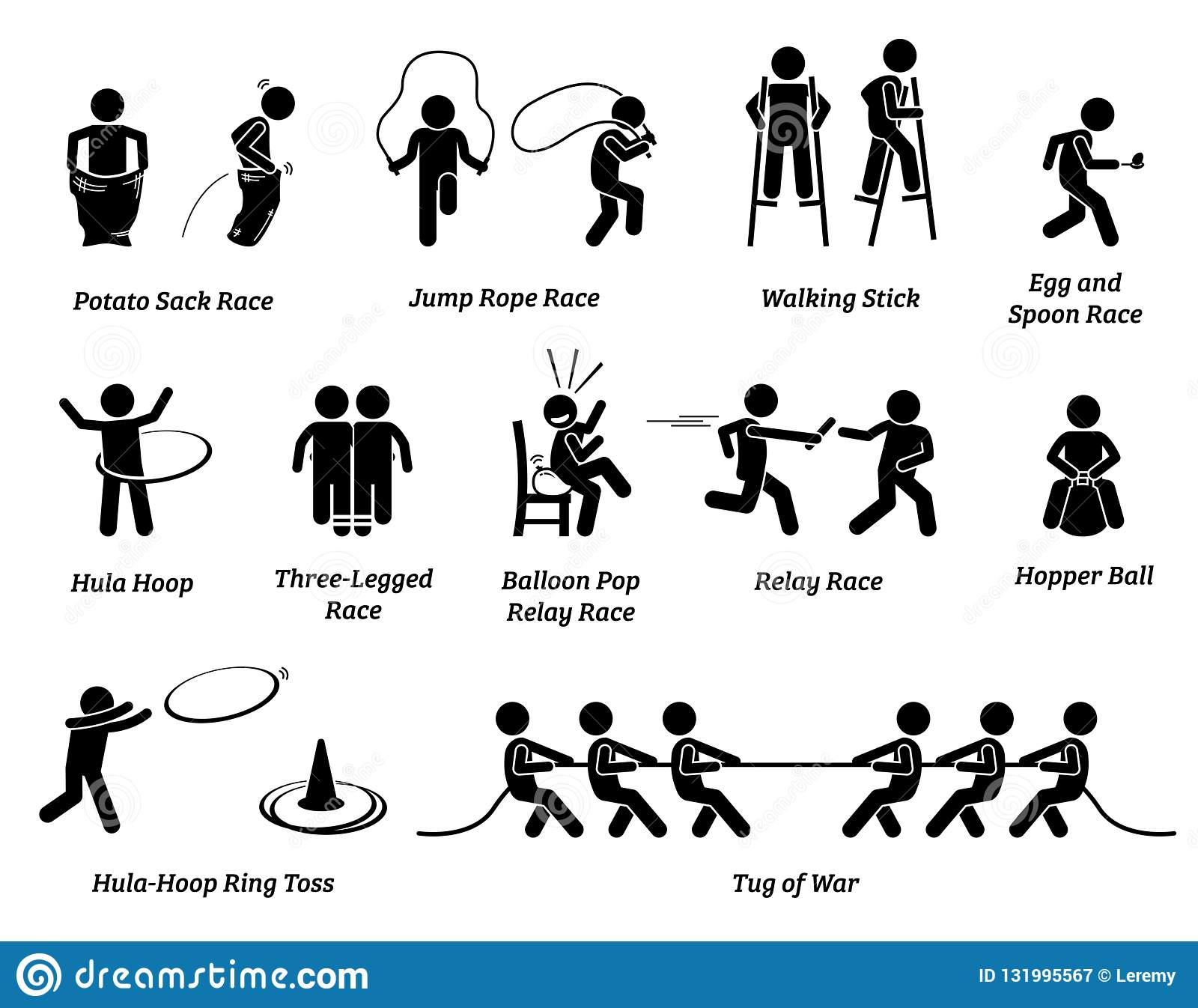 Elementary School Children Sport Games Competition Icons