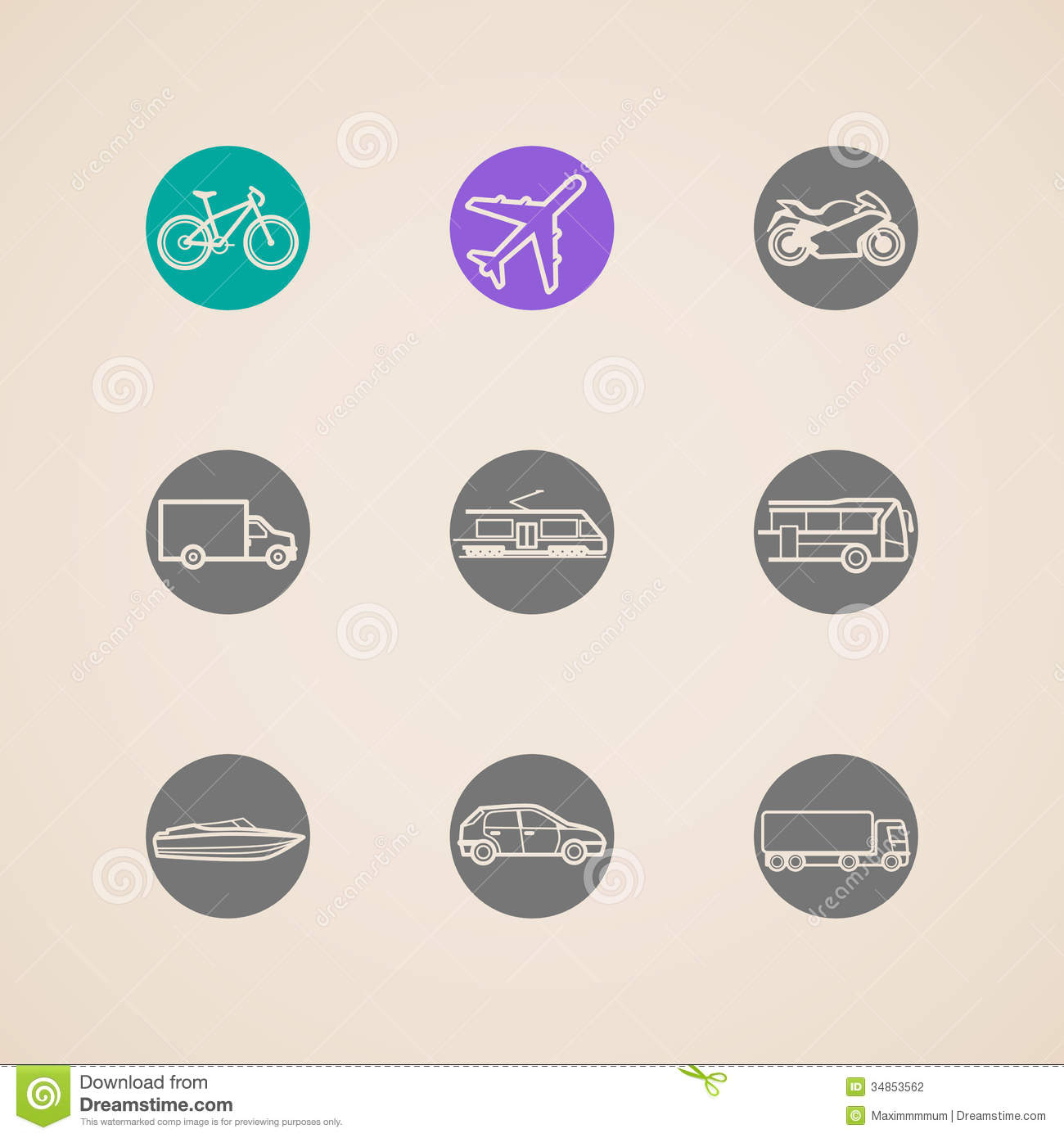 Icons With Different Modes Of Transport Stock Photography