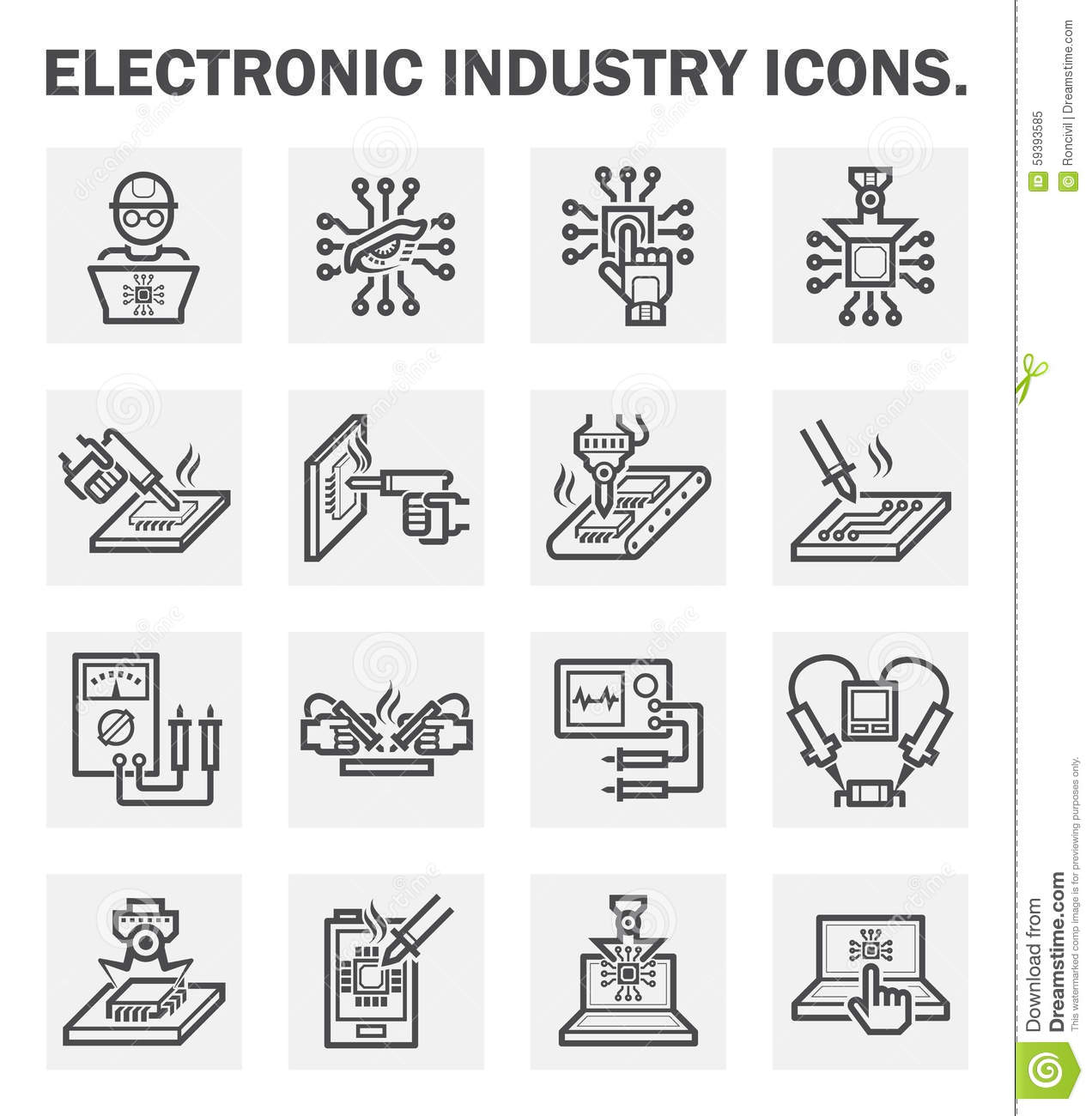 Icons Stock Vector Illustration Of Circuit Outline