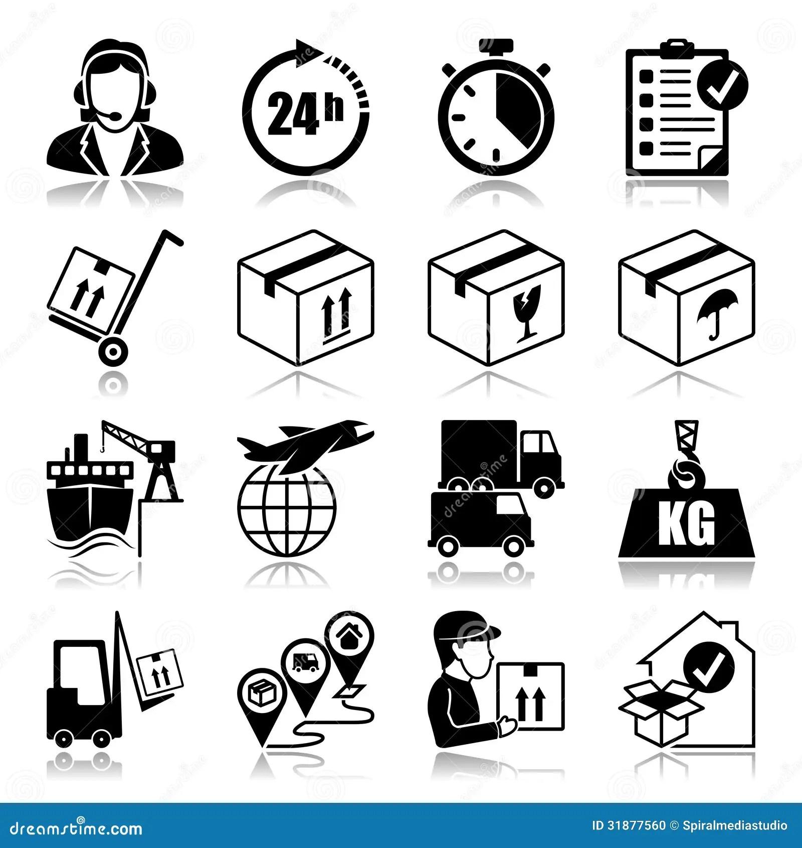 Icons Set Logistics Stock Photo
