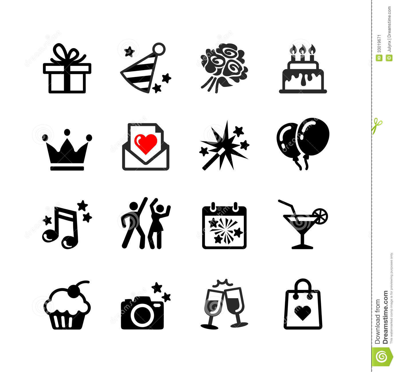 Icons Set Party Birthday And Celebration Stock Vector