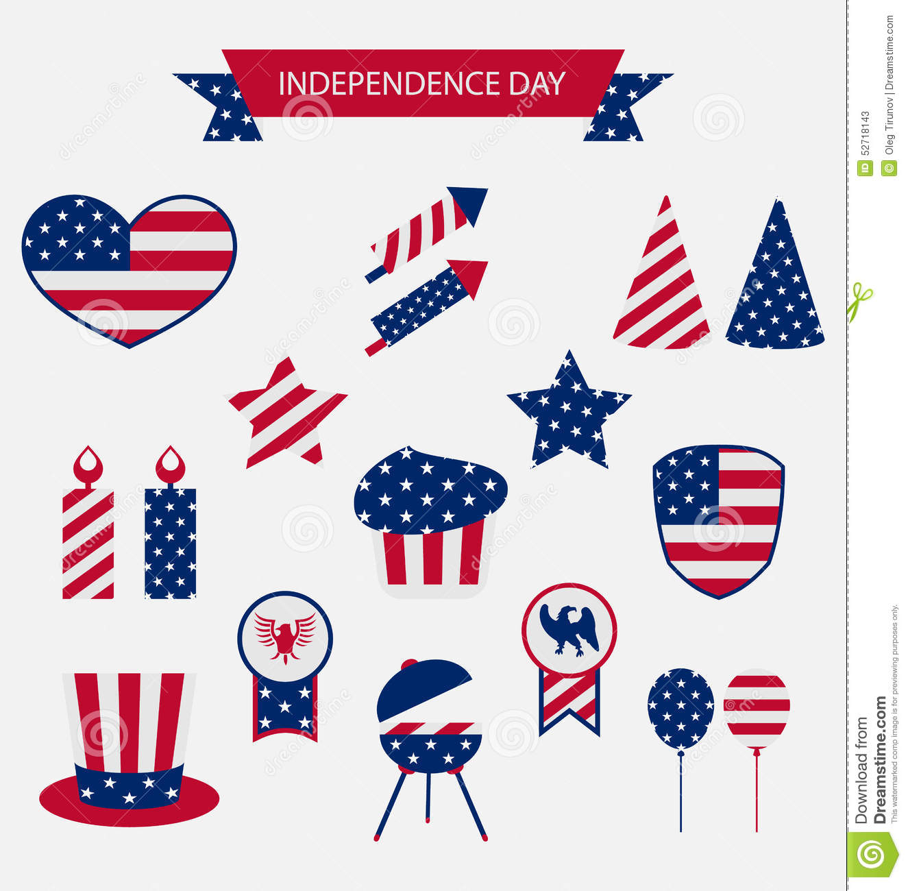 Icons Set Usa Flag Color Independence Day 4th Of July Stock Vector