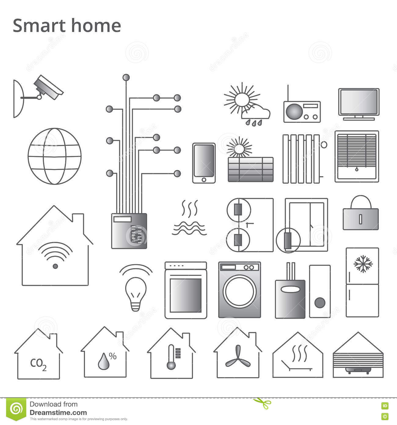 Smart Home Security System Black Icons Set Vector