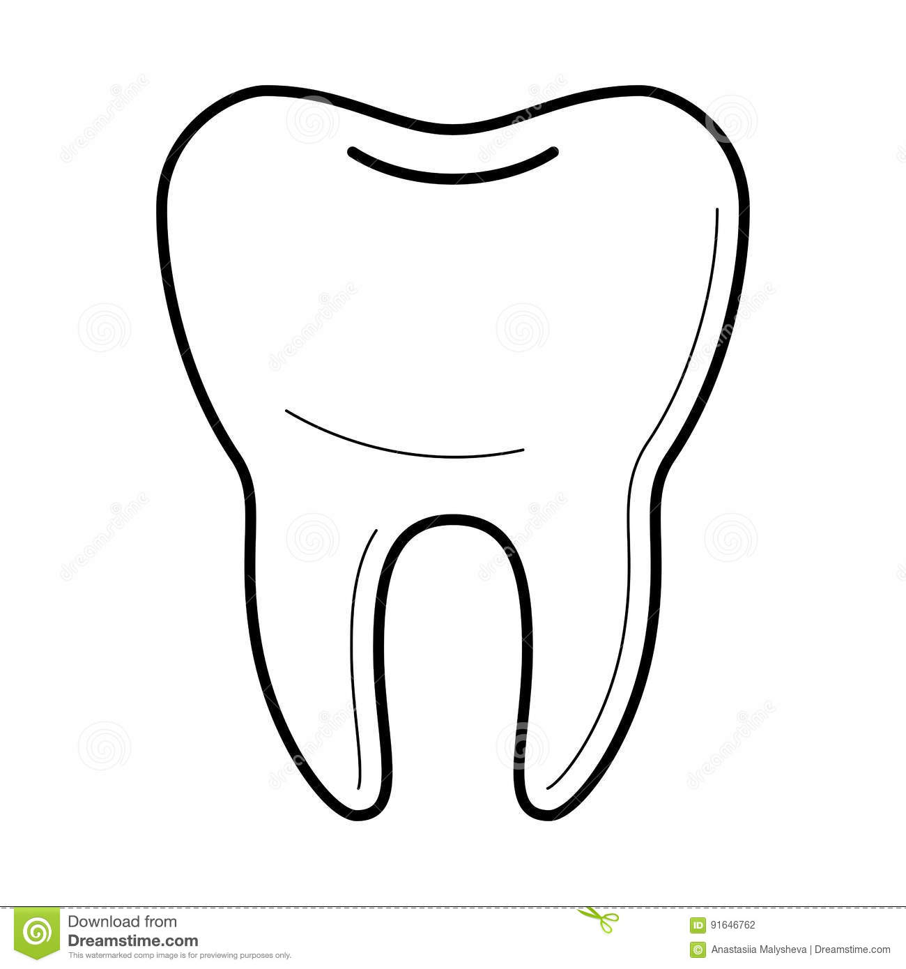 Icons Of Tooth In Thin Line Style Stock Vector