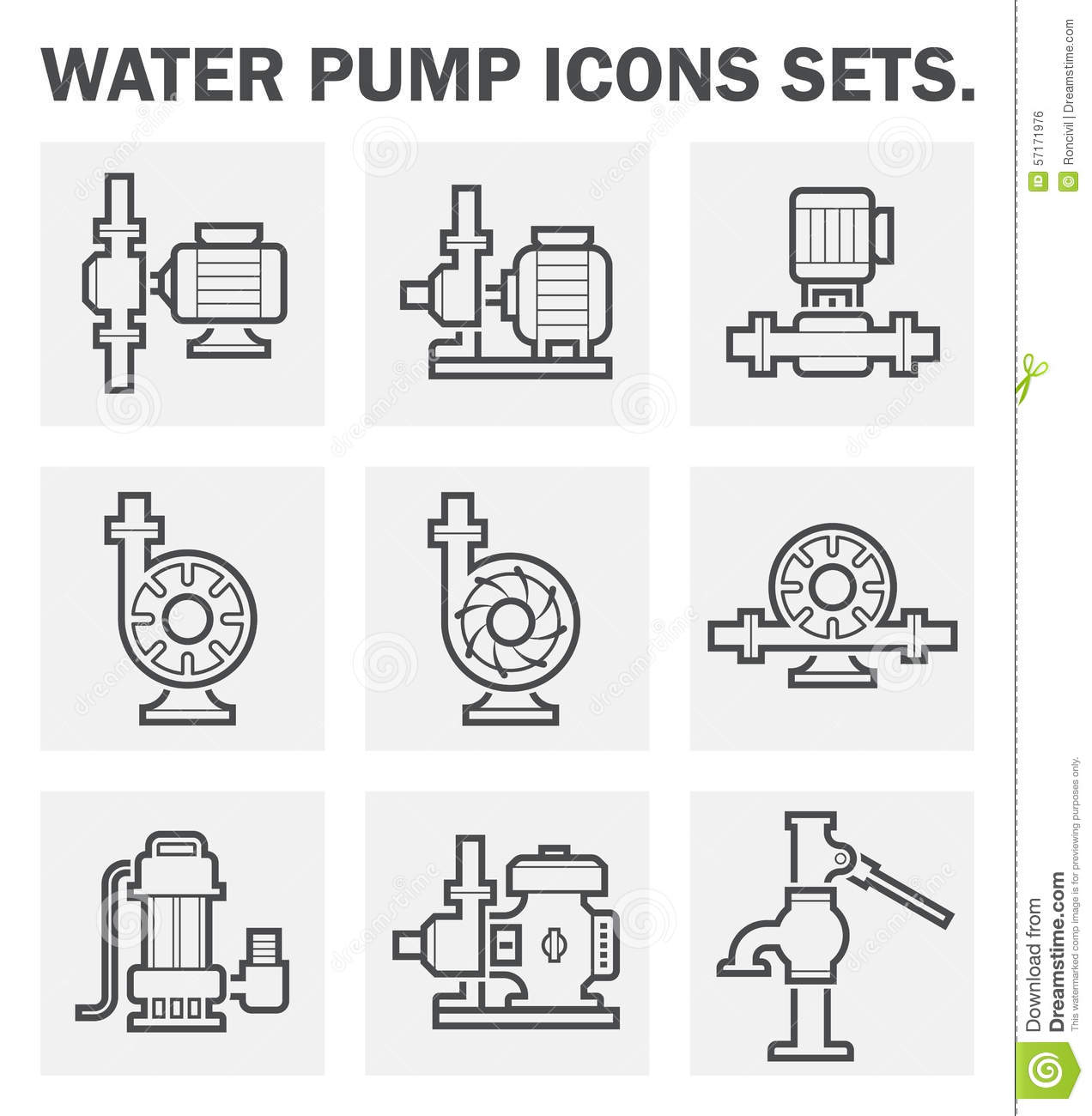 Icons Stock Vector Illustration Of Construction Sewage