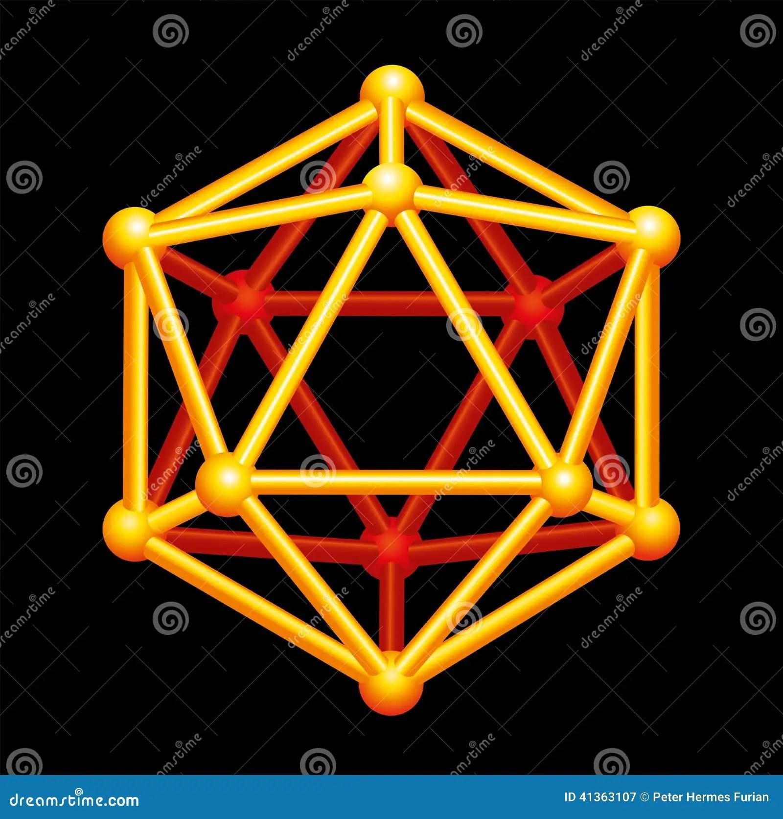 Icosahedron Gold Three Dimensional Shape Stock Vector
