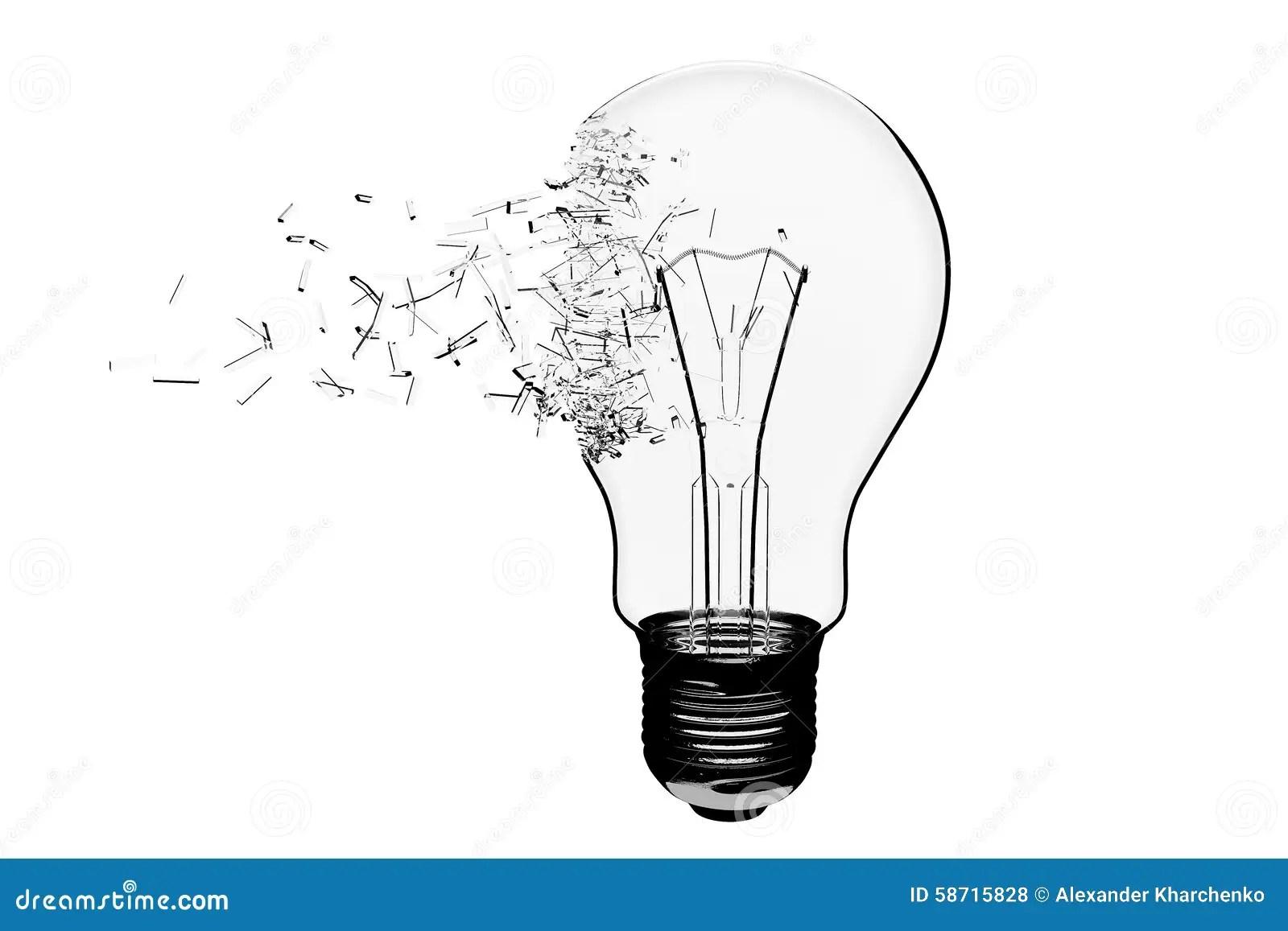 Idea Concept Light Bulb Exploding Stock Illustration
