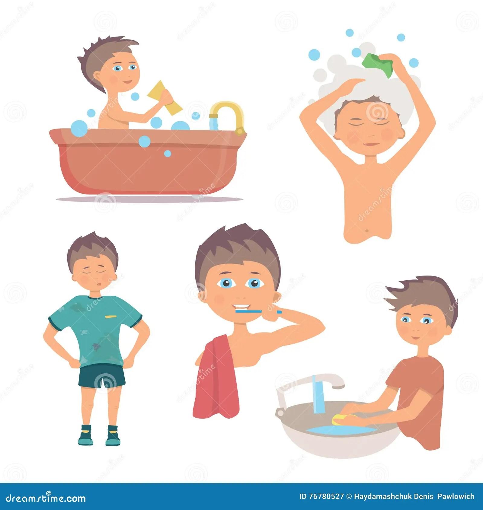 Igiene Personale Di Mattina E Procedura Di Lavaggio Delle