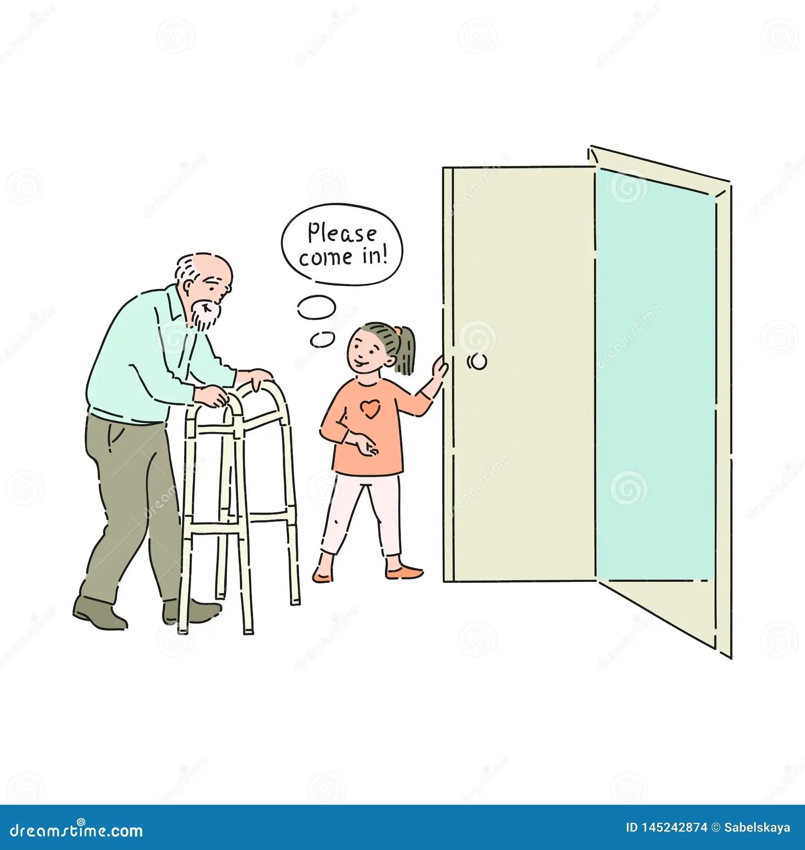 Il Bambino Gentile Di Vettore Apre La Porta All Uomo